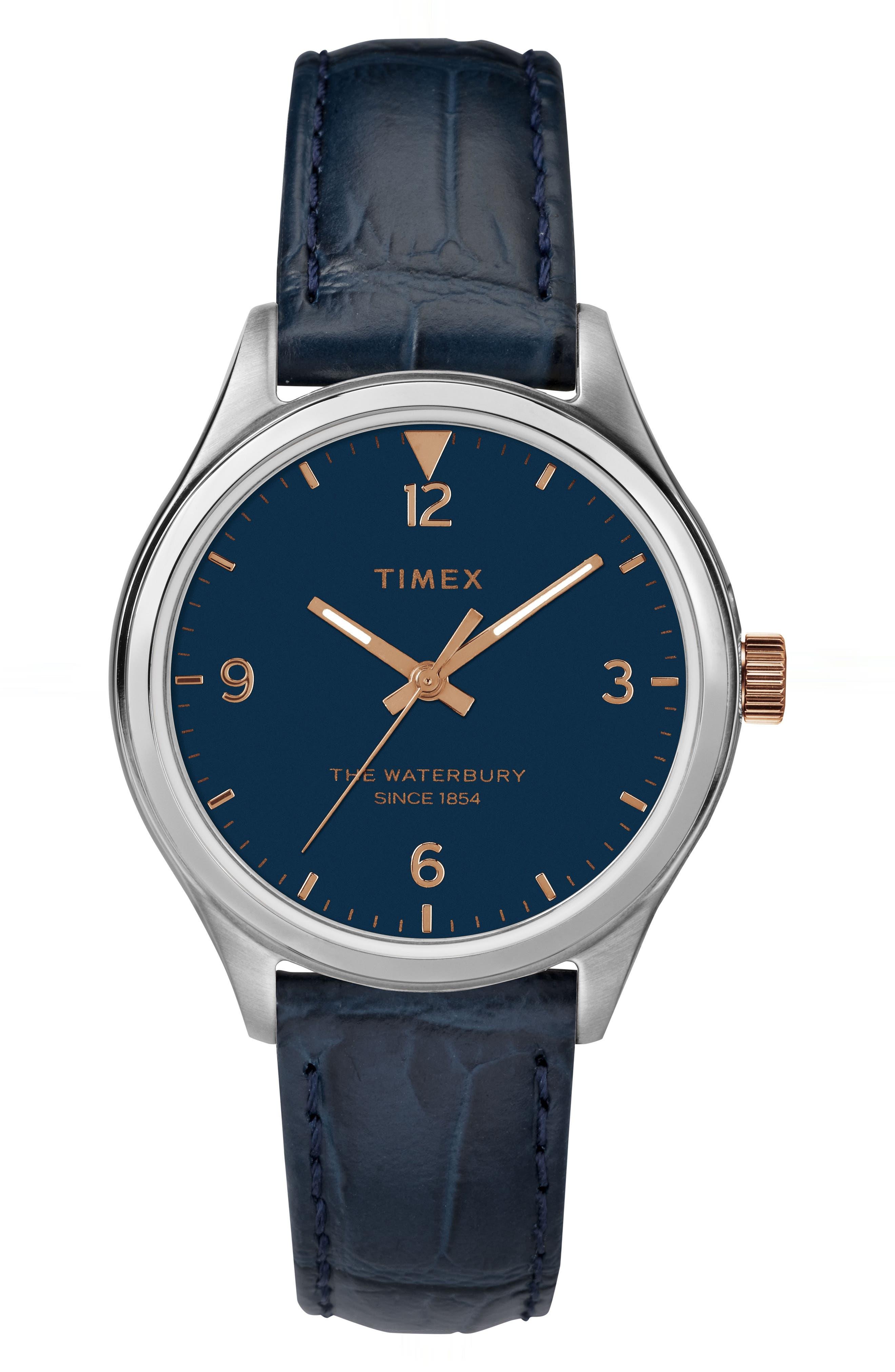 Timex Waterbury Leather Strap Watch,