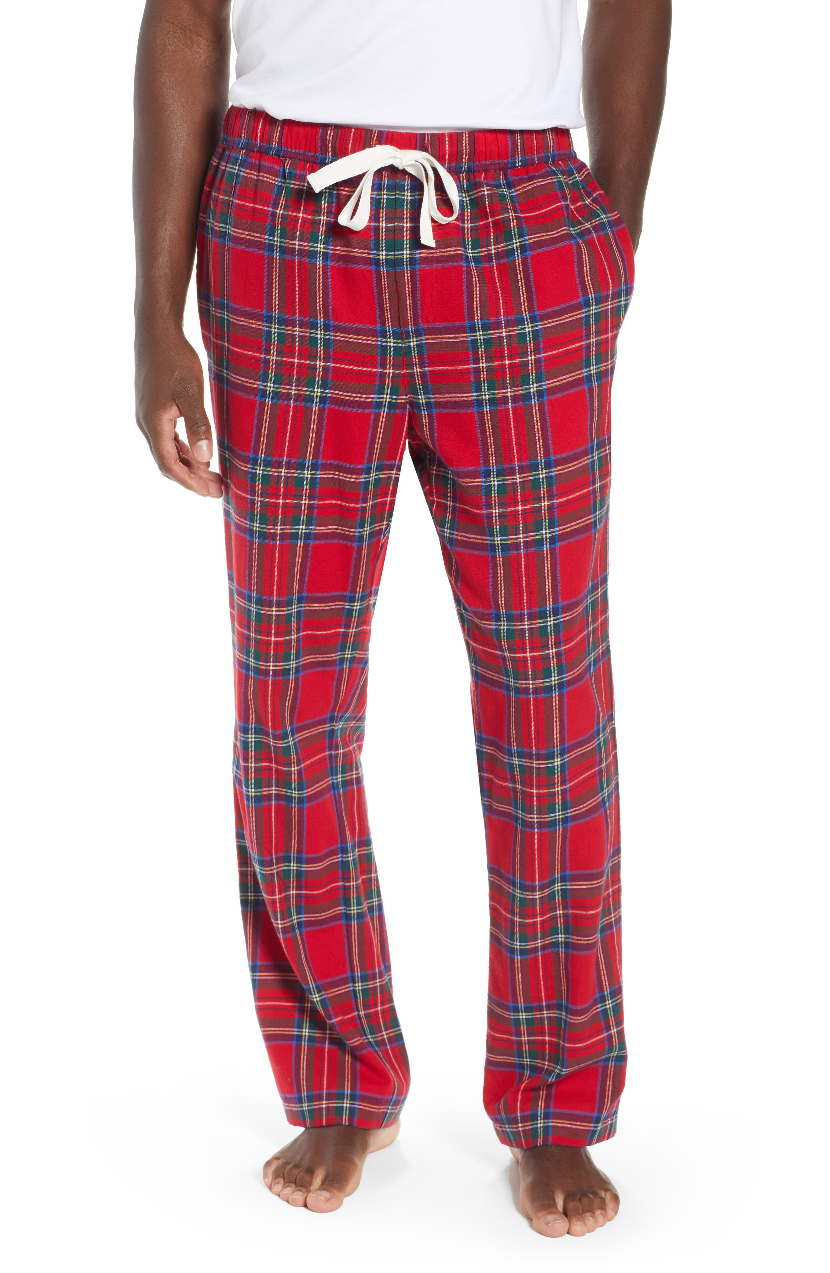 Vineyard Vines Jolly Plaid Cotton Flannel Pajama Pants, Yellow