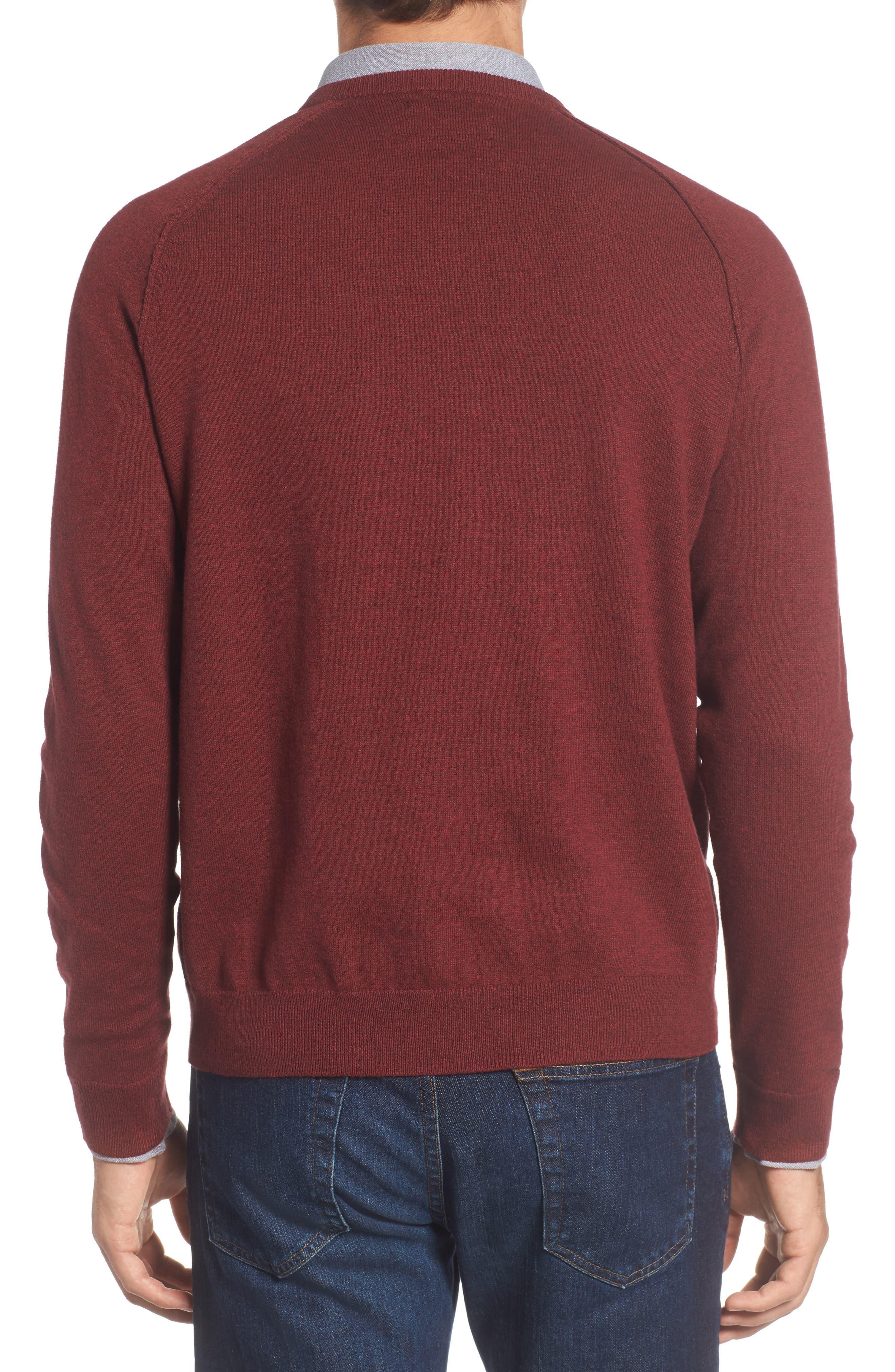 Saddle Shoulder Cotton & Cashmere V-Neck Sweater,                             Alternate thumbnail 16, color,