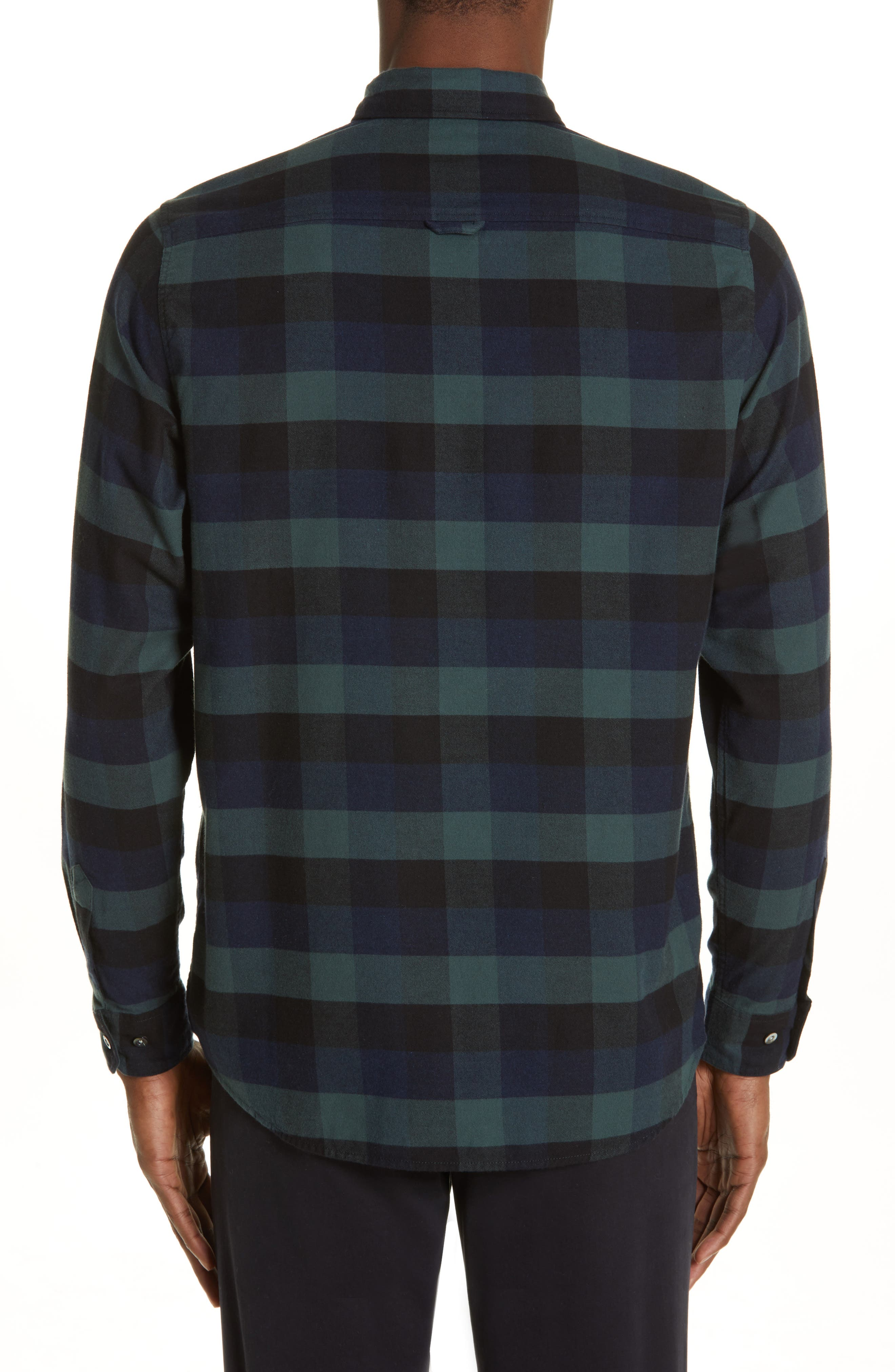 Villads Check Brushed Flannel Shirt,                             Alternate thumbnail 3, color,                             DARK NAVY