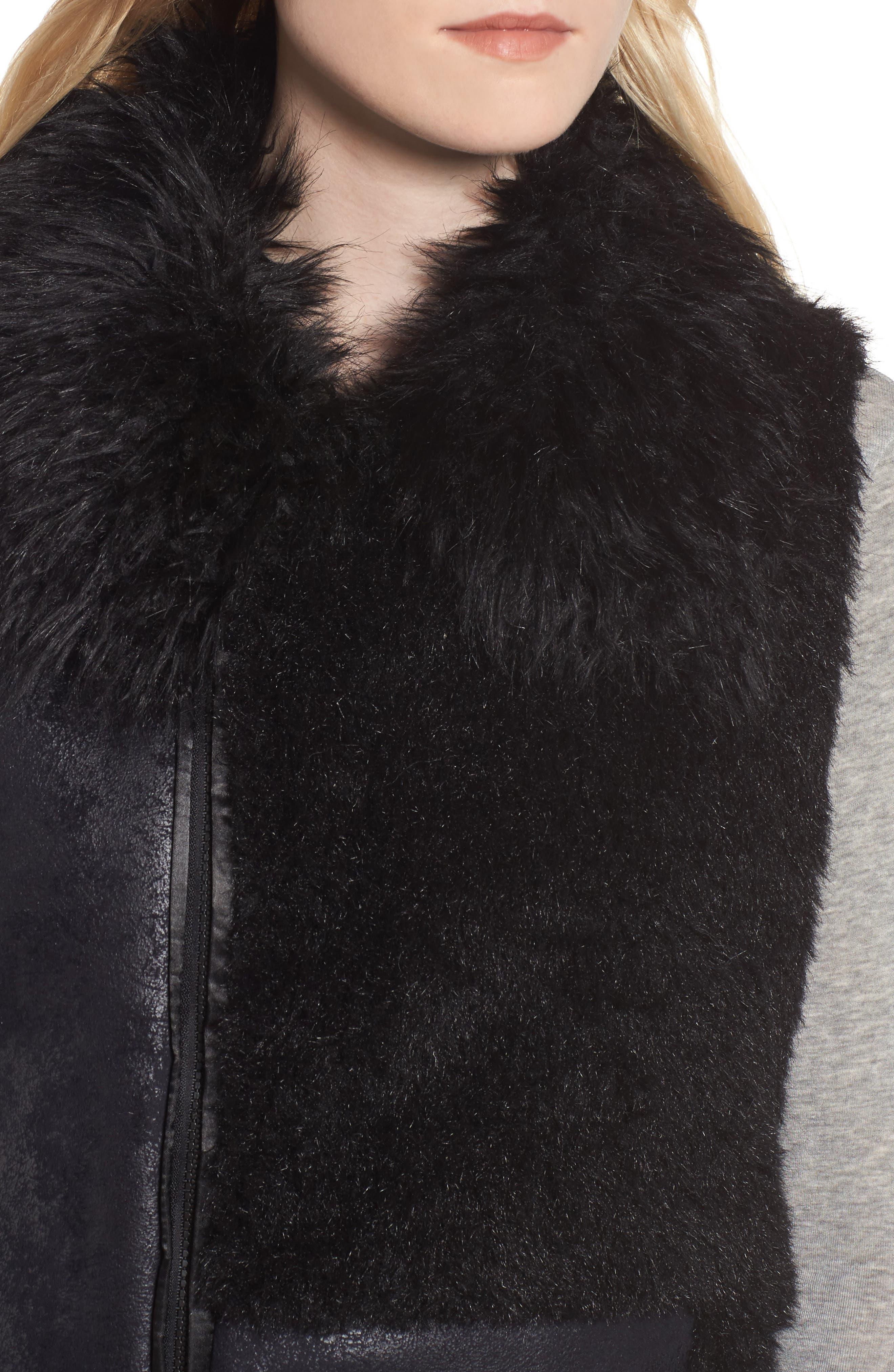 Kimmy Patchwork Faux Fur & Faux Suede Vest,                             Alternate thumbnail 4, color,                             001
