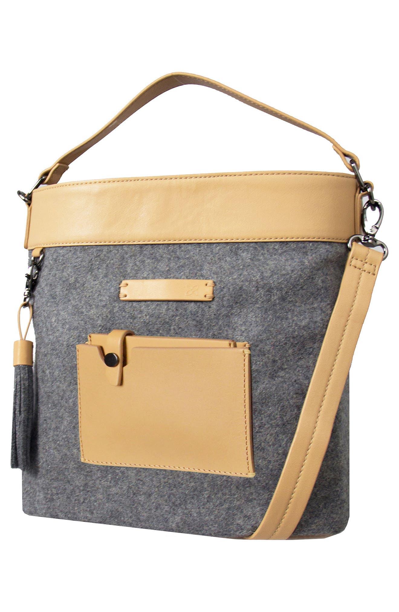 Boheme Wool & Leather Convertible Crossbody Bag,                             Alternate thumbnail 10, color,