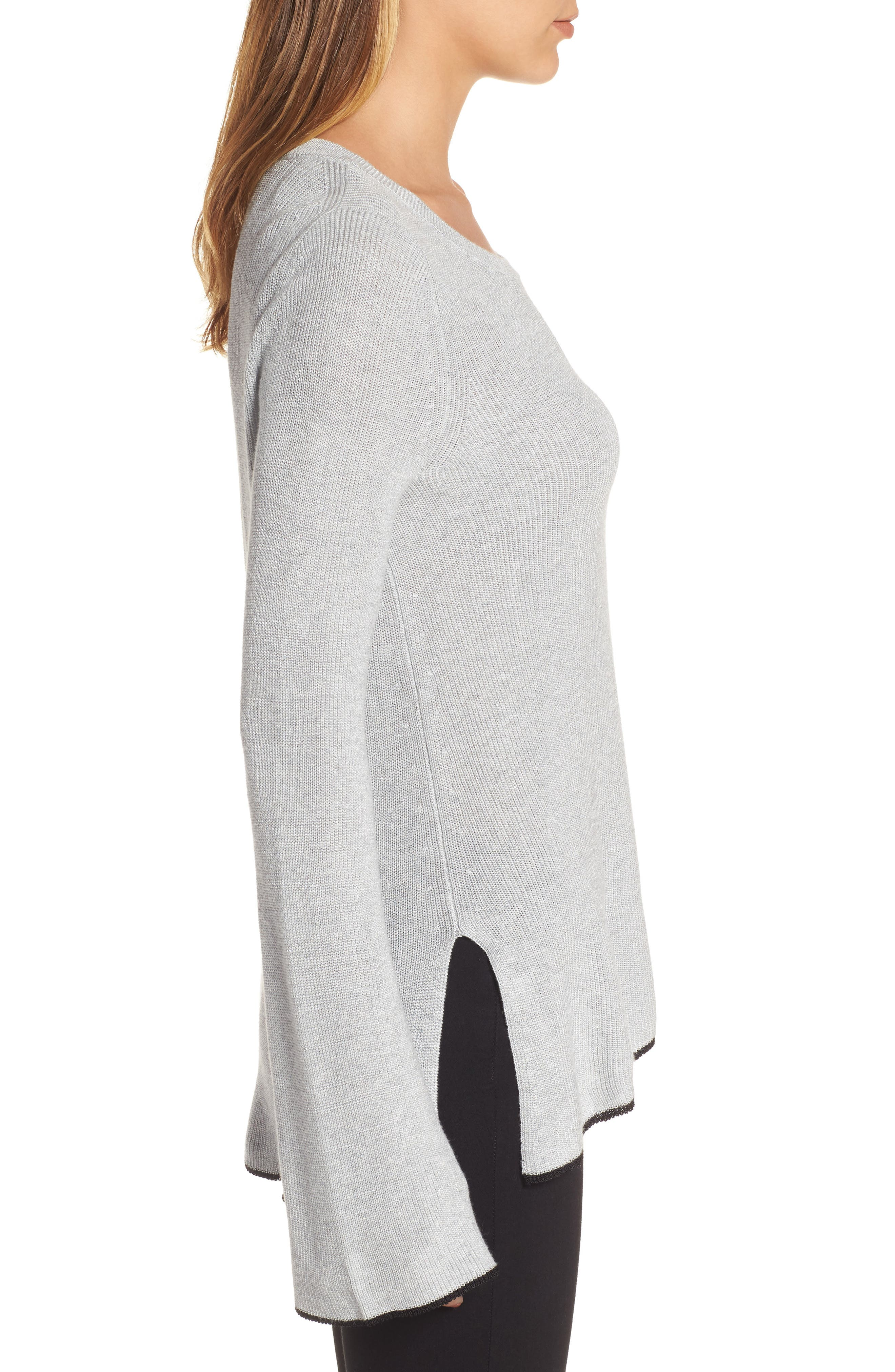 Tipped Bell Sleeve Sweater,                             Alternate thumbnail 17, color,