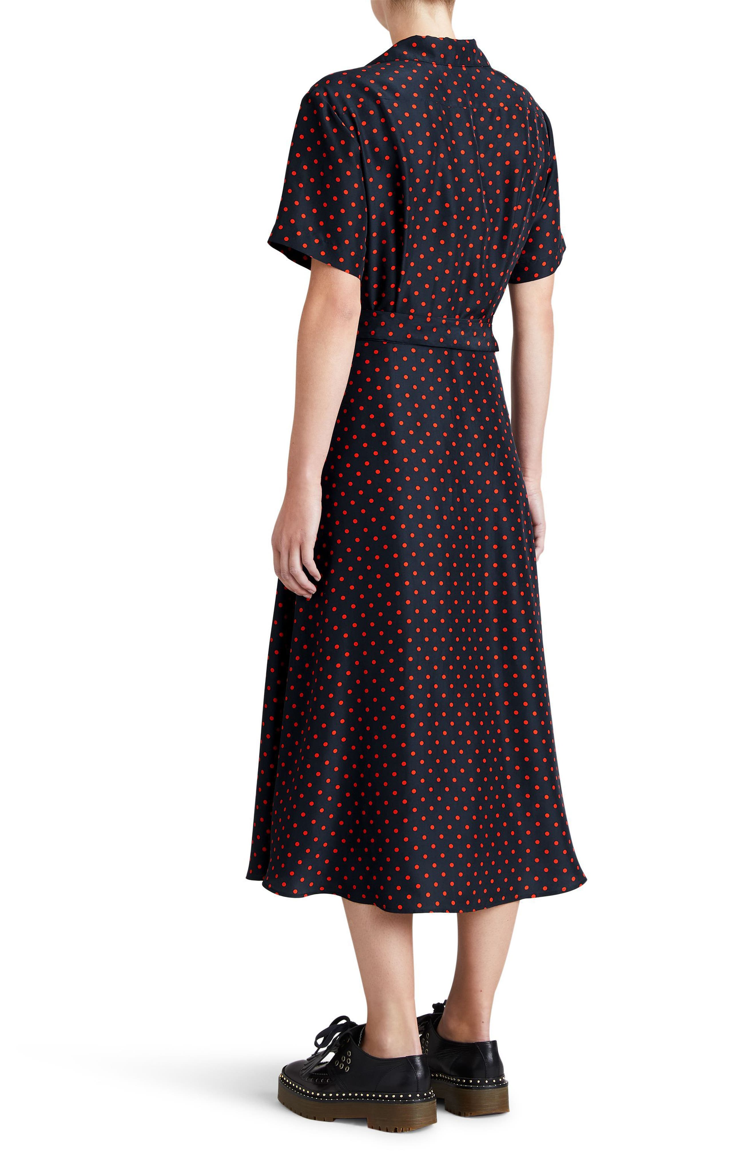 Renata Polka Dot Silk Midi Dress,                             Alternate thumbnail 2, color,                             604