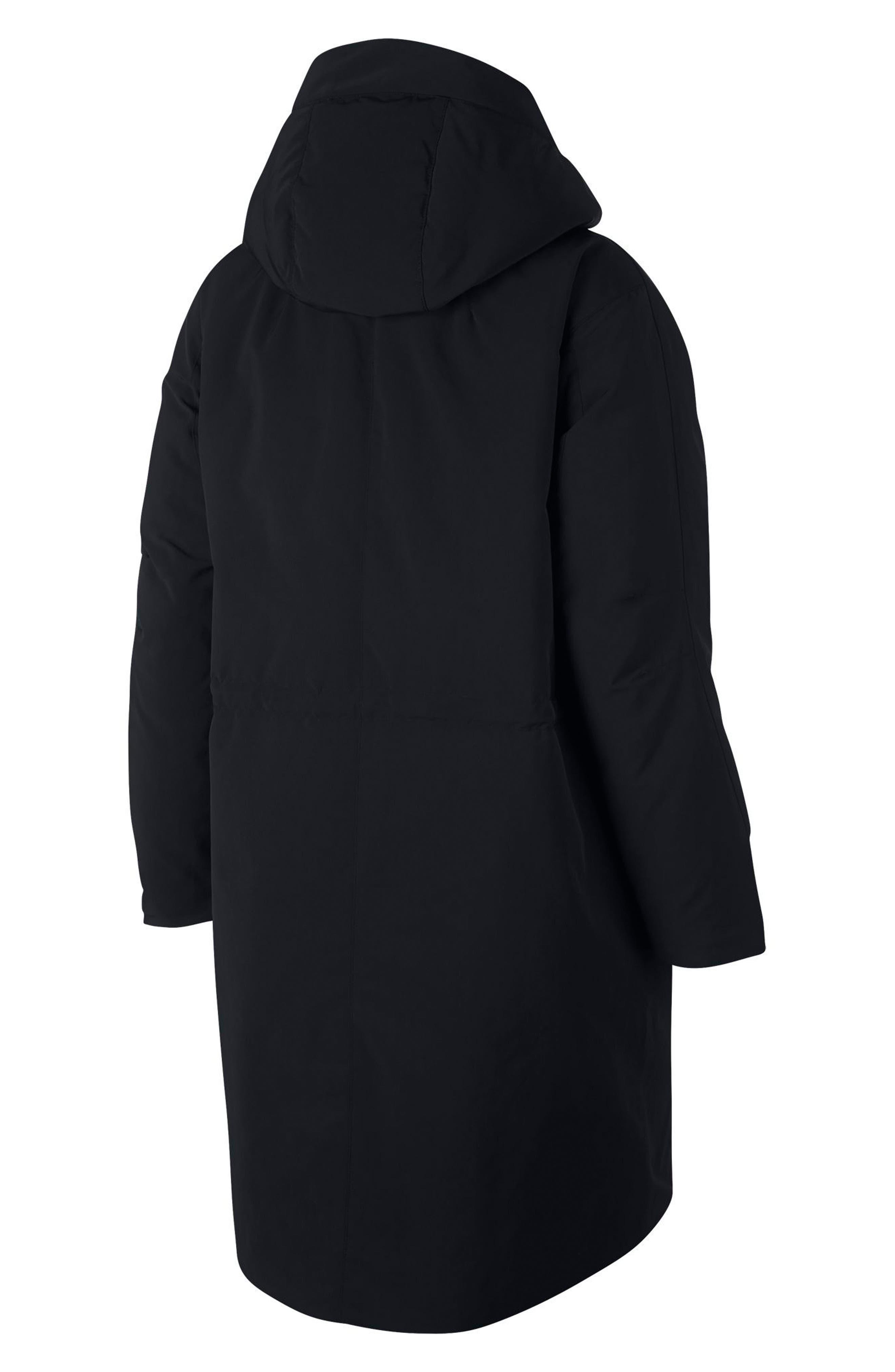 Sportswear Tech Pack Women's Down Fill Parka,                             Alternate thumbnail 7, color,                             BLACK/ NEWSPRINT/ BLACK