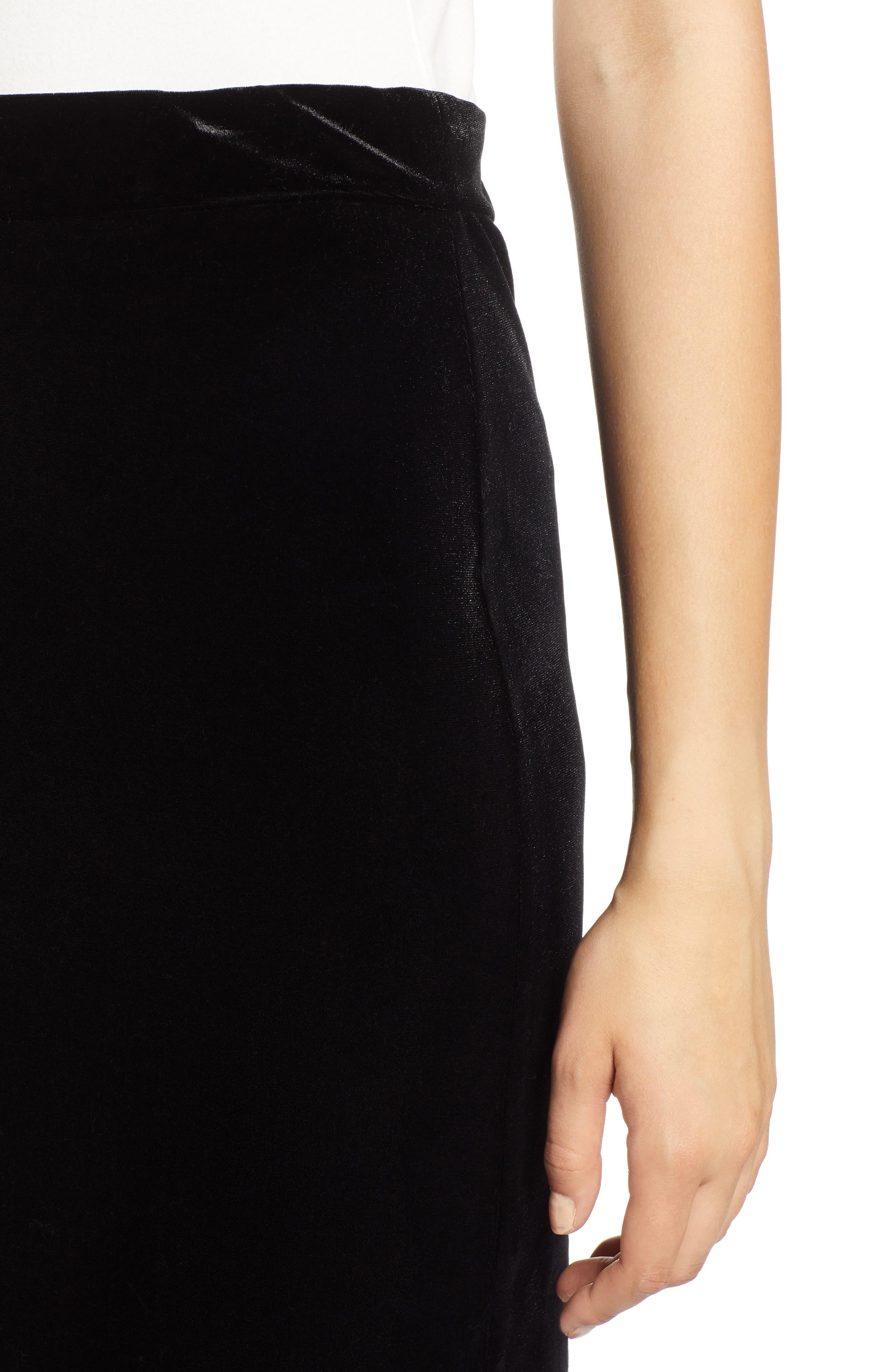 Velvet Pencil Skirt,                             Alternate thumbnail 4, color,                             001