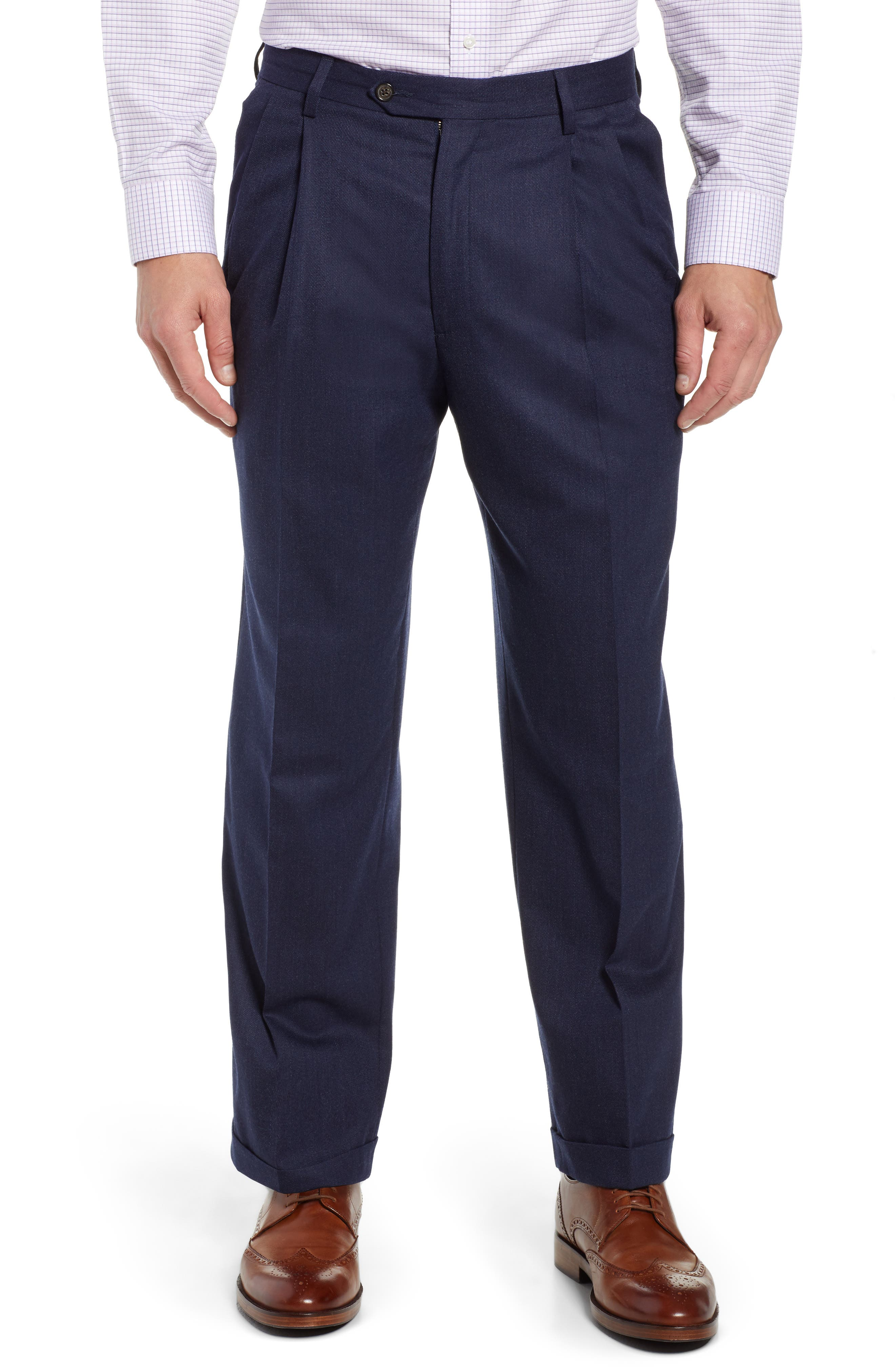 Manufacturing Pleated Stretch Solid Wool & Cotton Trousers,                         Main,                         color, BLUE