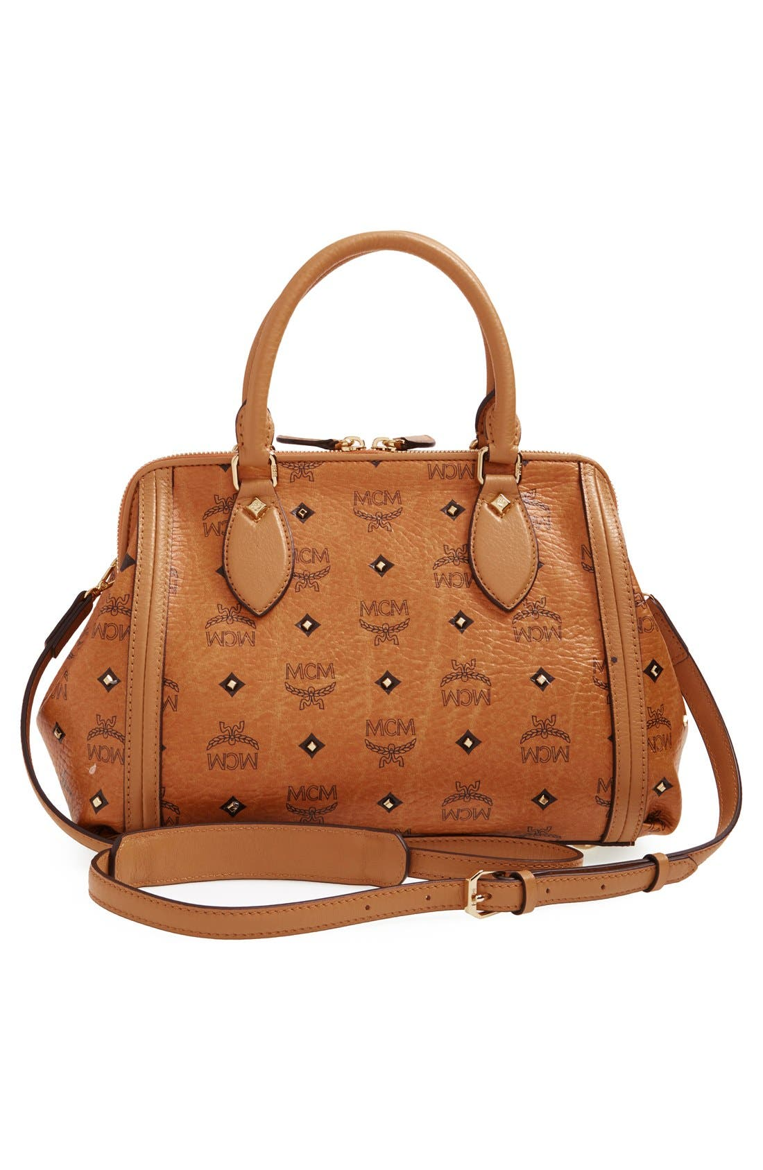 'Small Gold Visetos' Studded Doctor Bag,                             Alternate thumbnail 3, color,                             200