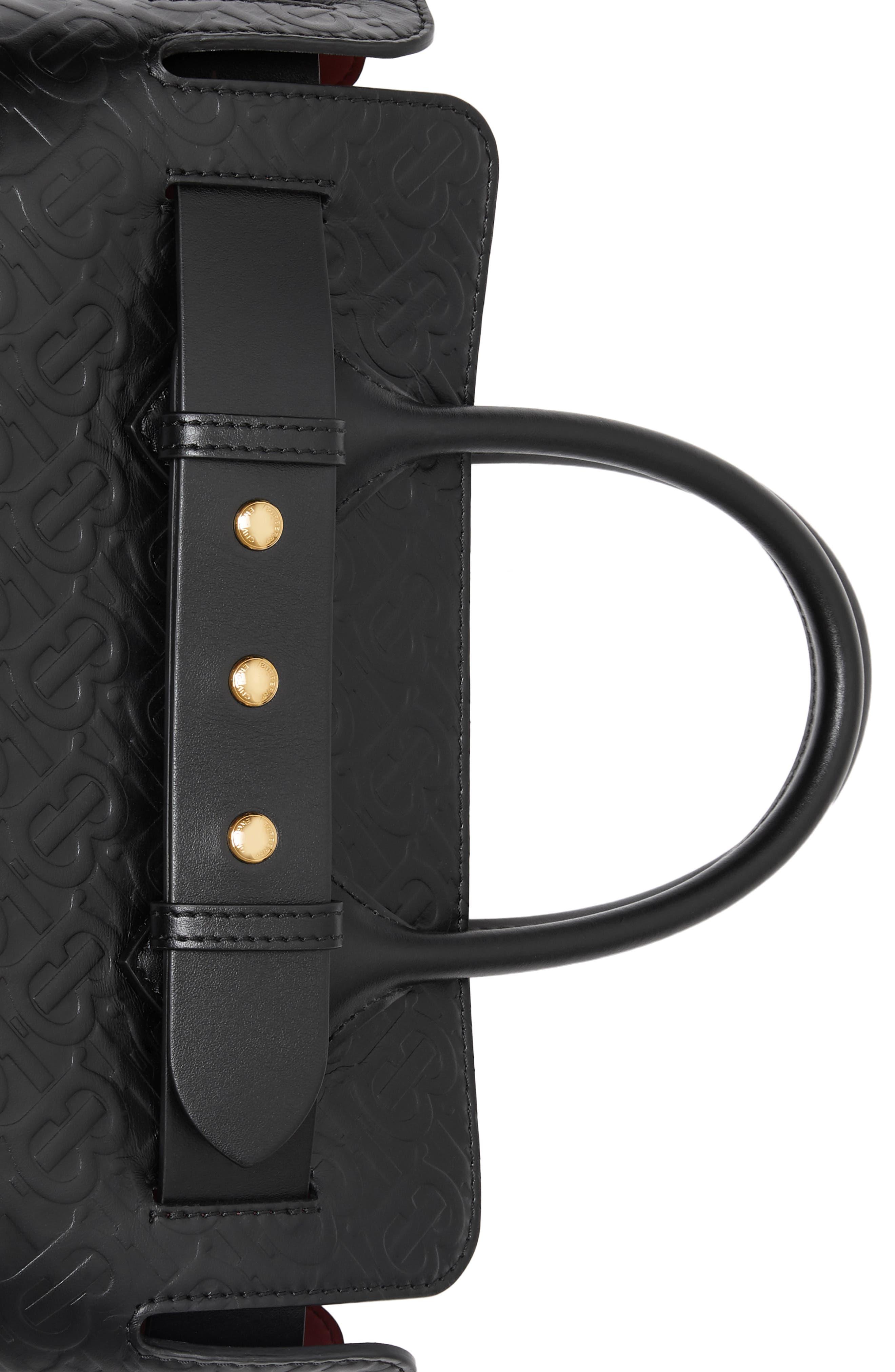 BURBERRY,                             Small Belt Embossed Logo Leather Satchel,                             Alternate thumbnail 7, color,                             BLACK