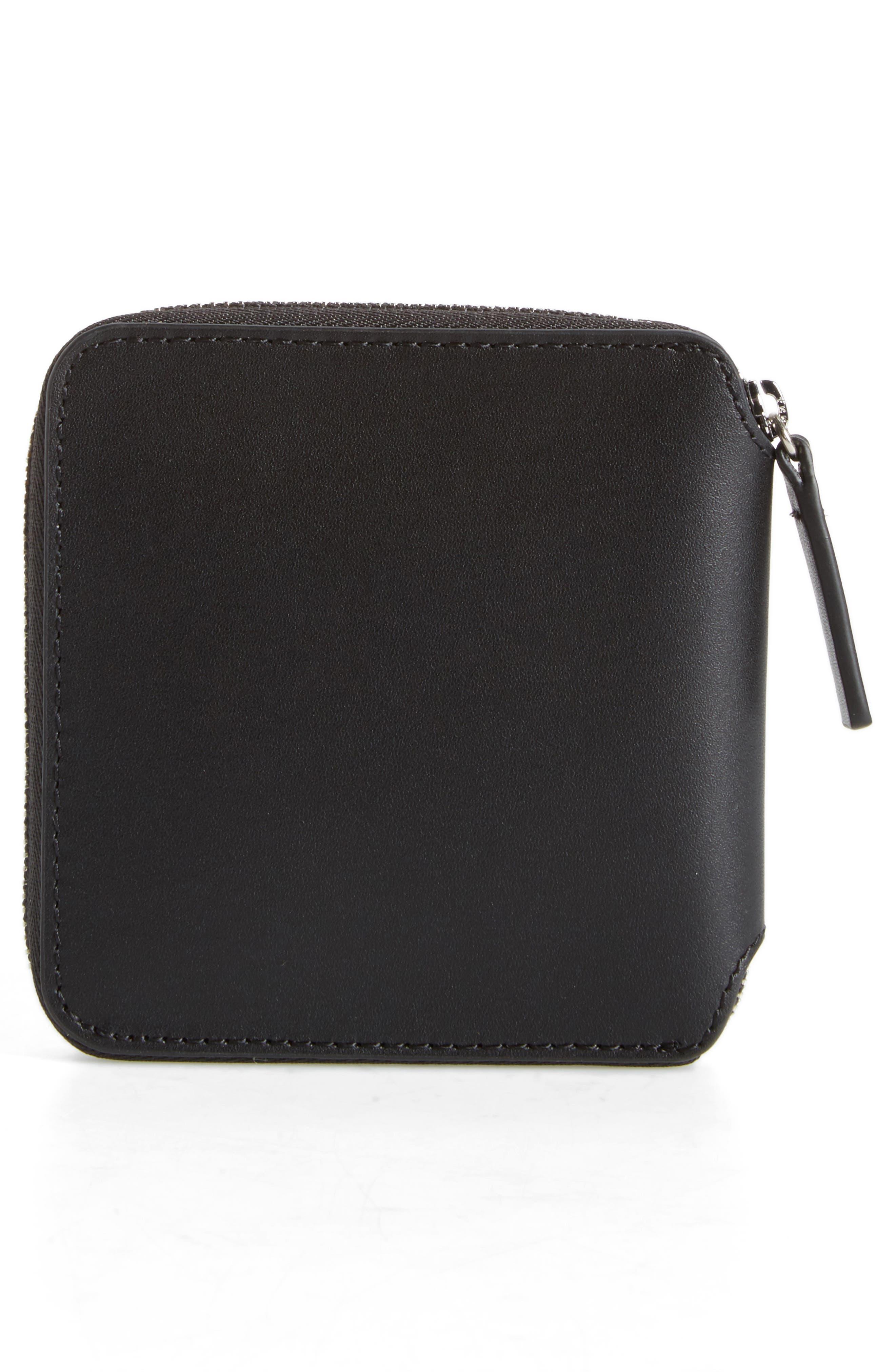BAGGU,                             Zip Around Square Leather Wallet,                             Alternate thumbnail 4, color,                             001