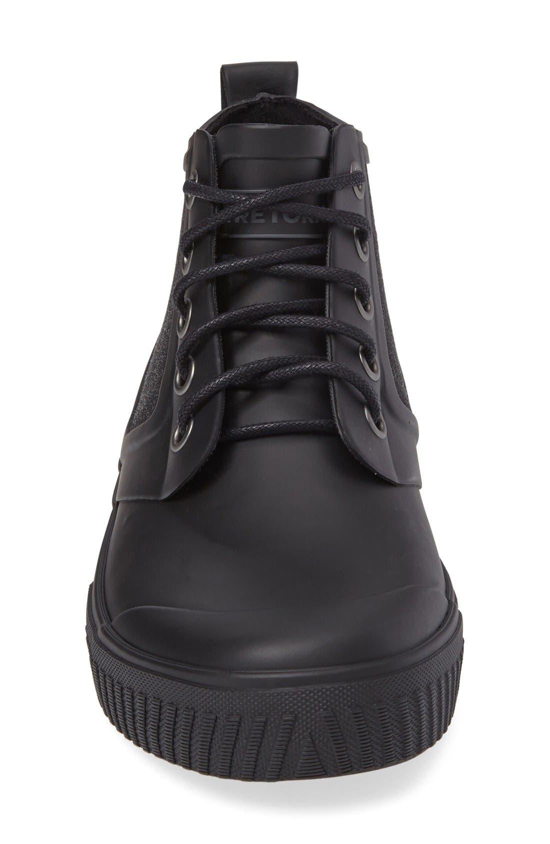 Mid Top Lace-Up Waterproof Rain Boot,                             Alternate thumbnail 2, color,                             BLACK