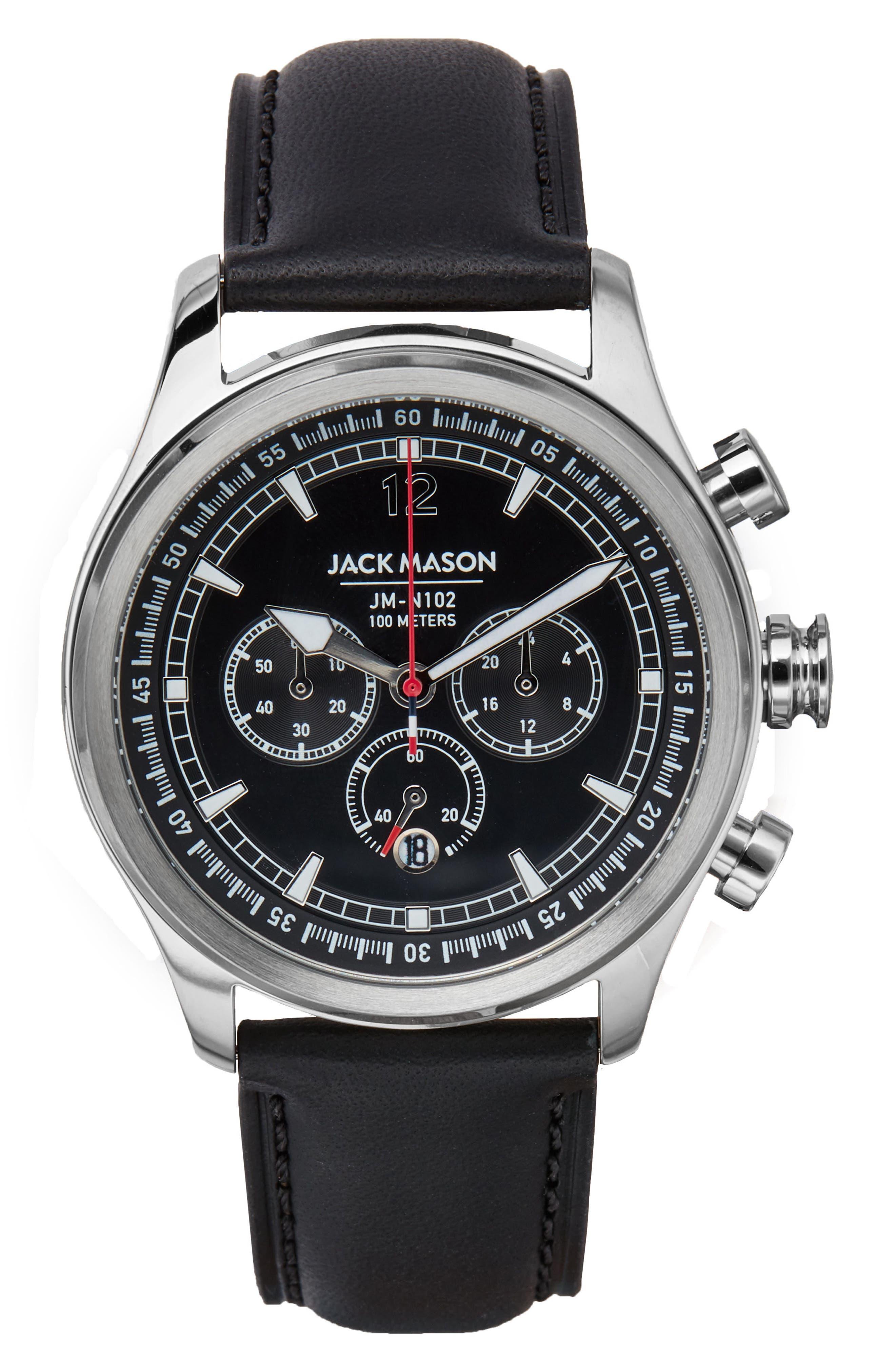 Nautical Chronograph Leather Strap Watch, 42mm,                             Main thumbnail 1, color,                             BLACK/ BLACK