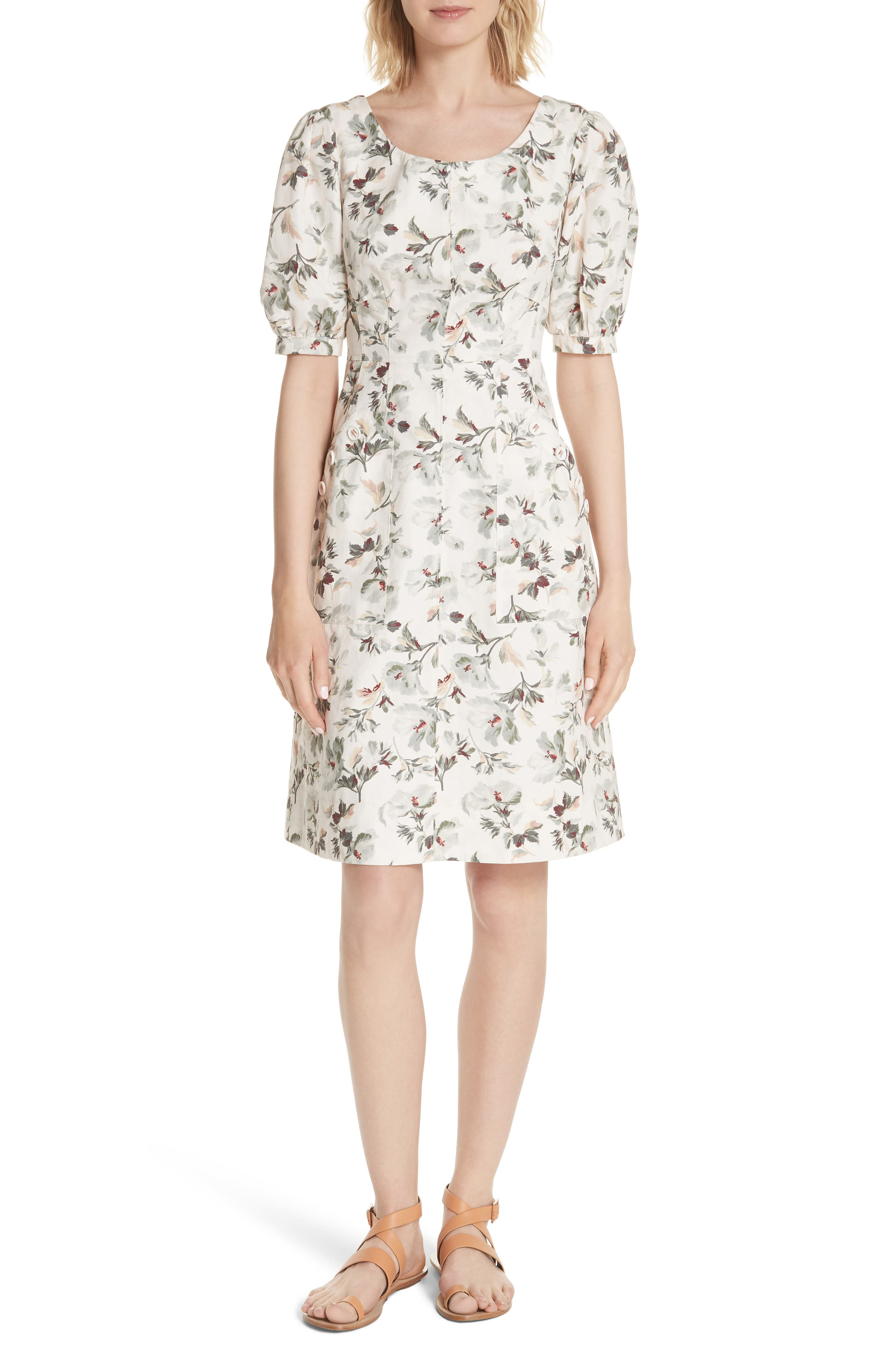 Puff Sleeve Floral Cotton Linen Dress,                         Main,                         color, VANILLA COMBO