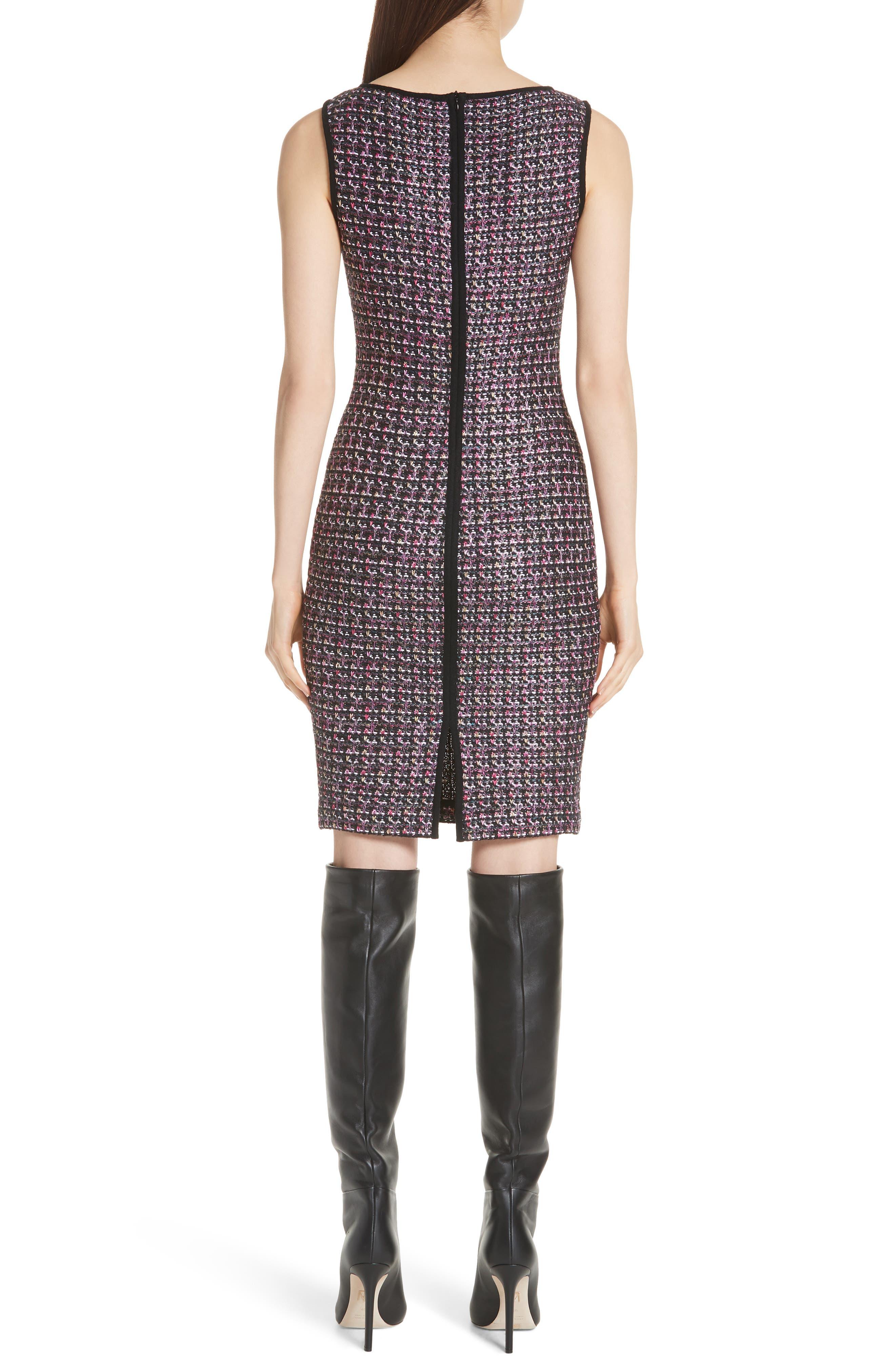 Painterly Sheen Tweed Knit Dress,                             Alternate thumbnail 2, color,                             GRANITE MULTI