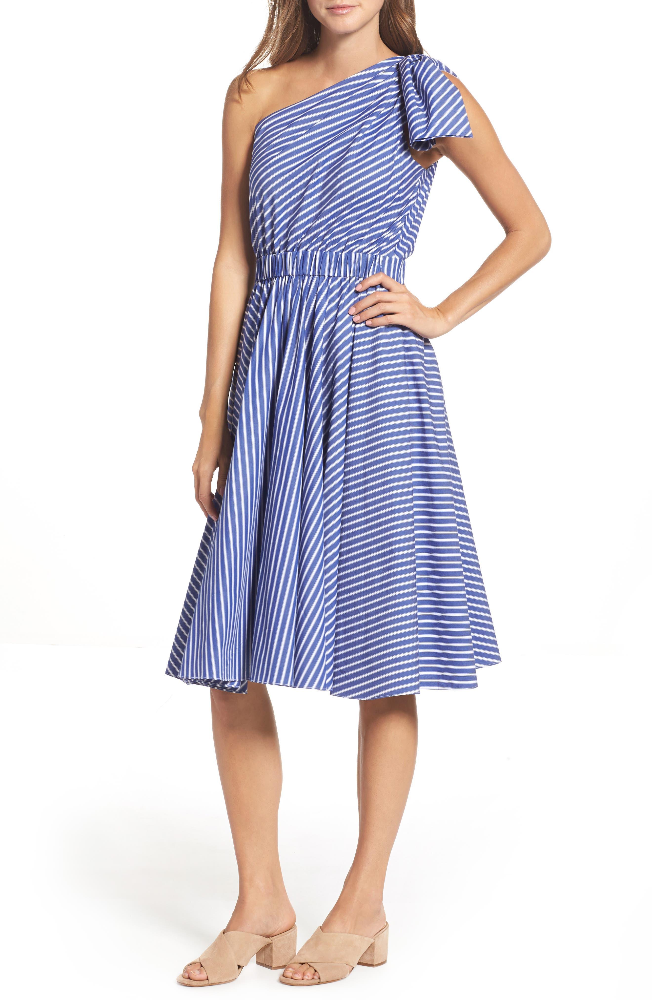 One-Shoulder Fit & Flare Dress,                             Main thumbnail 1, color,