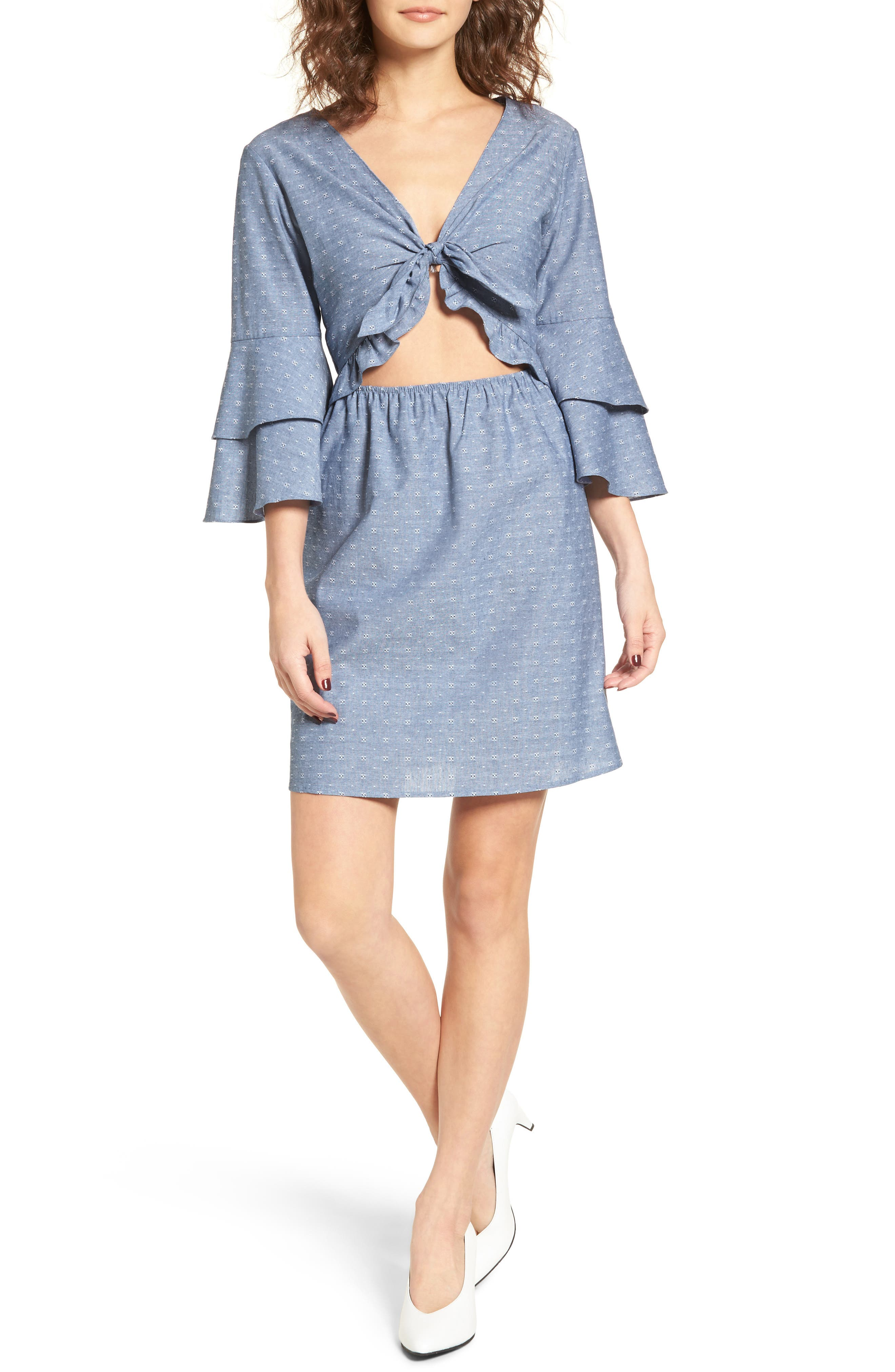 EVERLY,                             Cutout Tiered Sleeve Dress,                             Main thumbnail 1, color,                             400