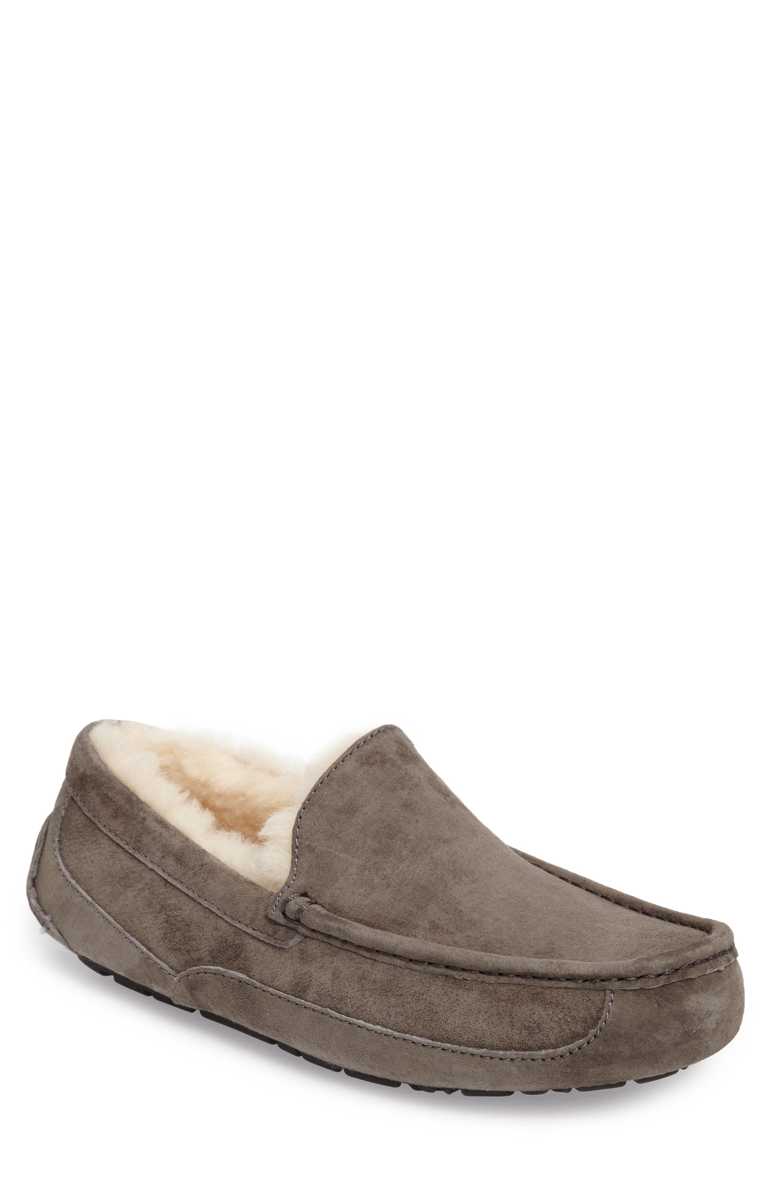 Ascot Suede Slipper,                         Main,                         color, CHARCOAL
