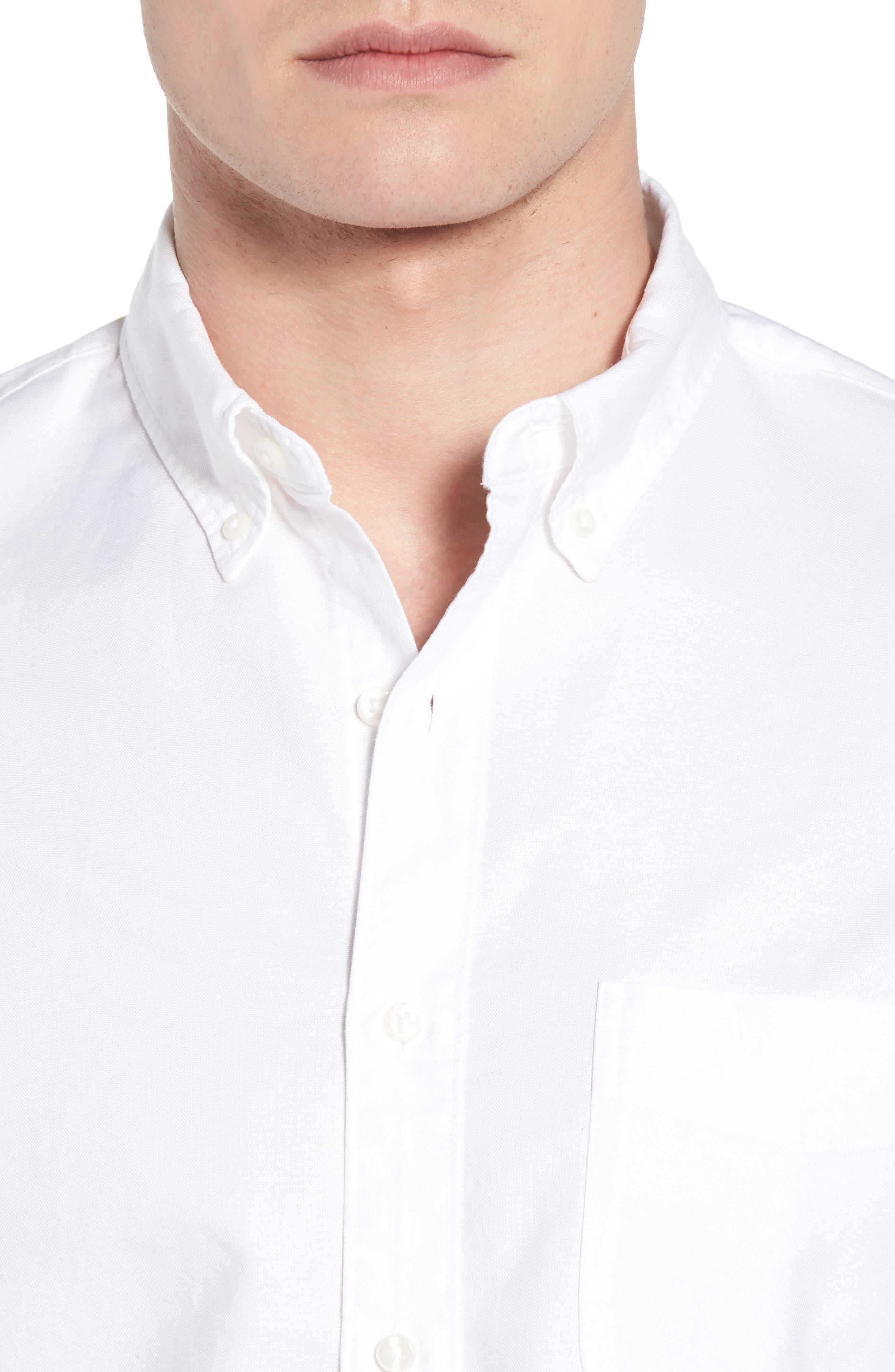 Classic Fit Stretch Pima Cotton Oxford Shirt,                             Alternate thumbnail 4, color,                             104
