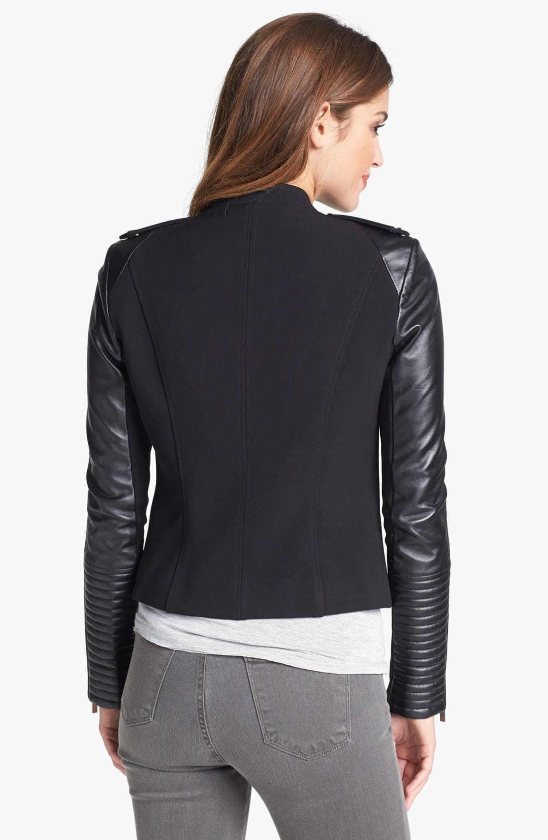 BCBGMAXAZRIA,                             Asymmetrical Ponte & Leather Moto Jacket,                             Alternate thumbnail 3, color,                             001