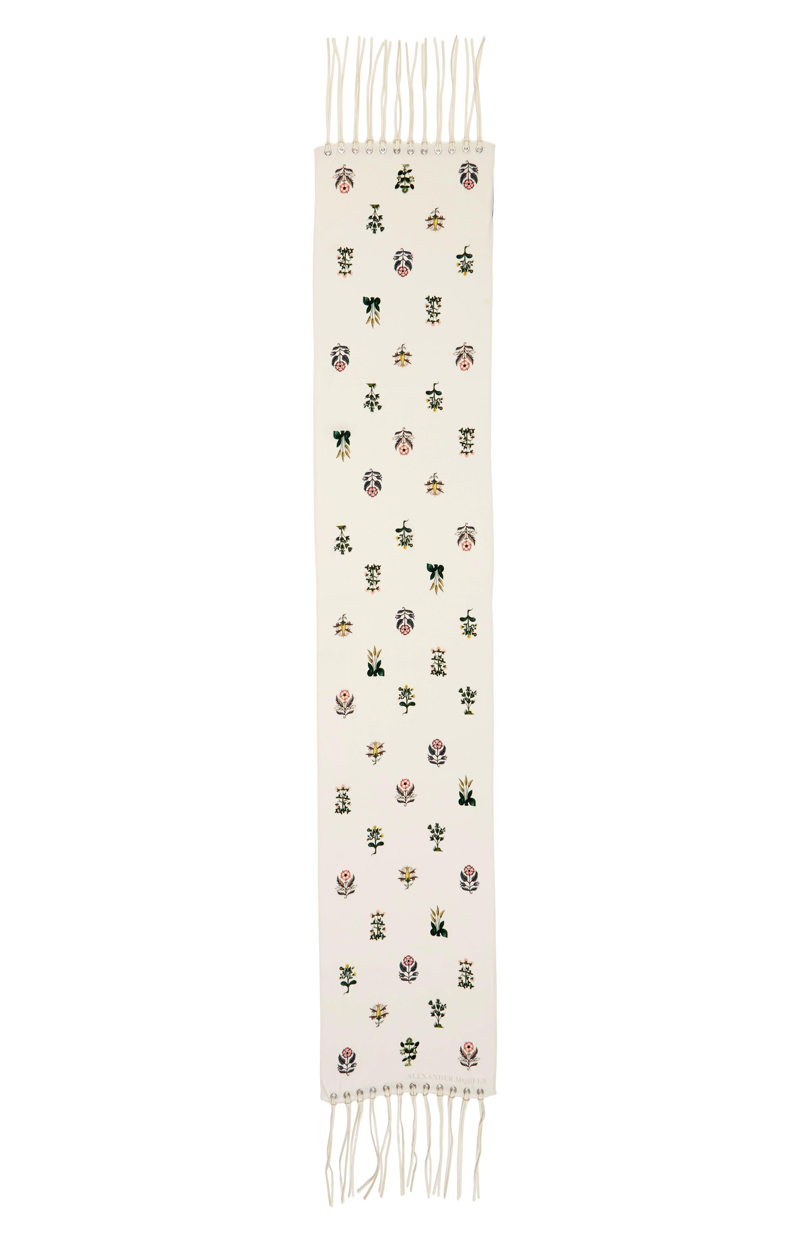 Medieval Flower Skinny Silk Scarf,                             Main thumbnail 2, color,