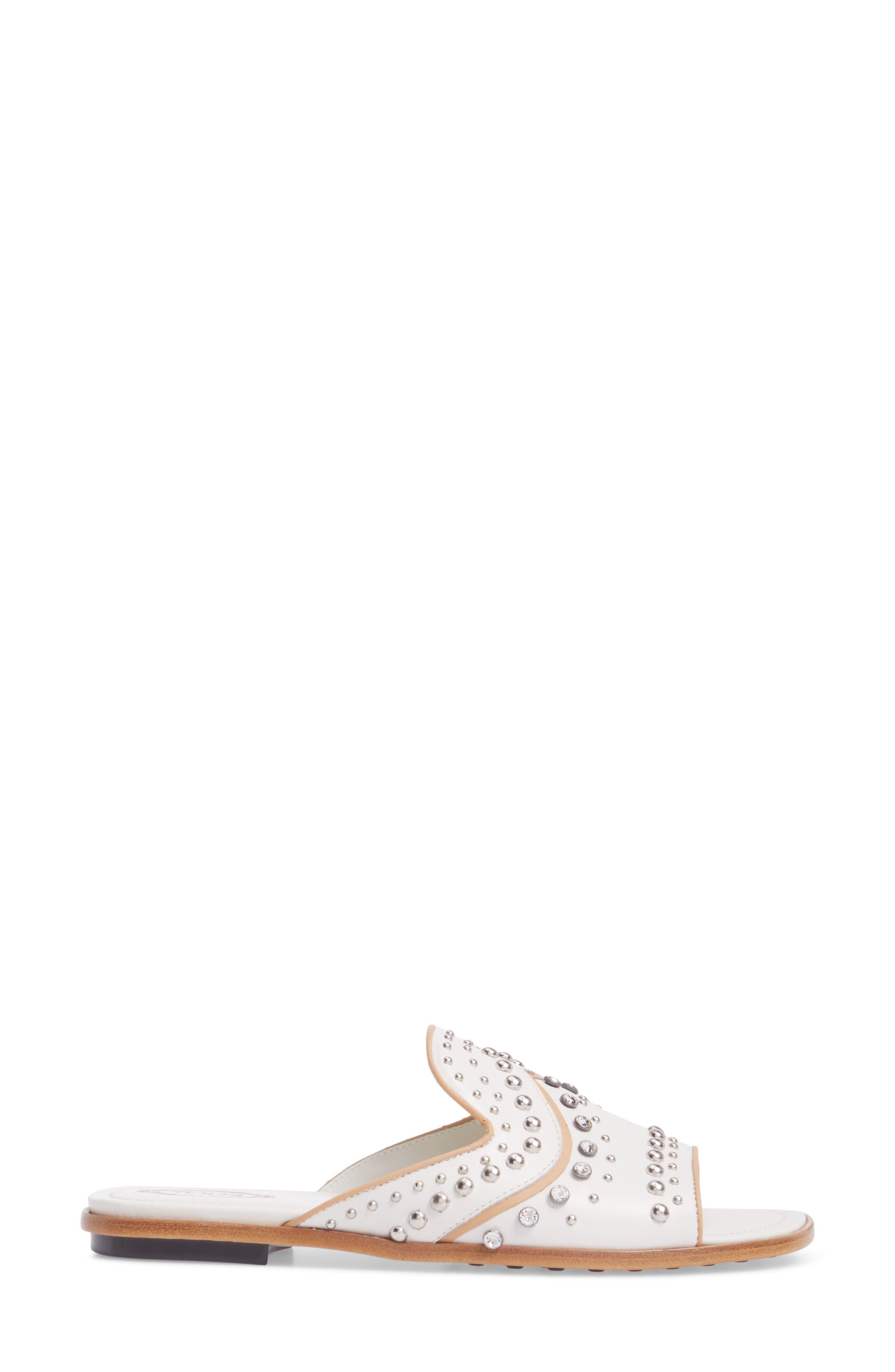 TOD'S,                             Crystal Embellished Loafer Mule,                             Alternate thumbnail 3, color,                             100