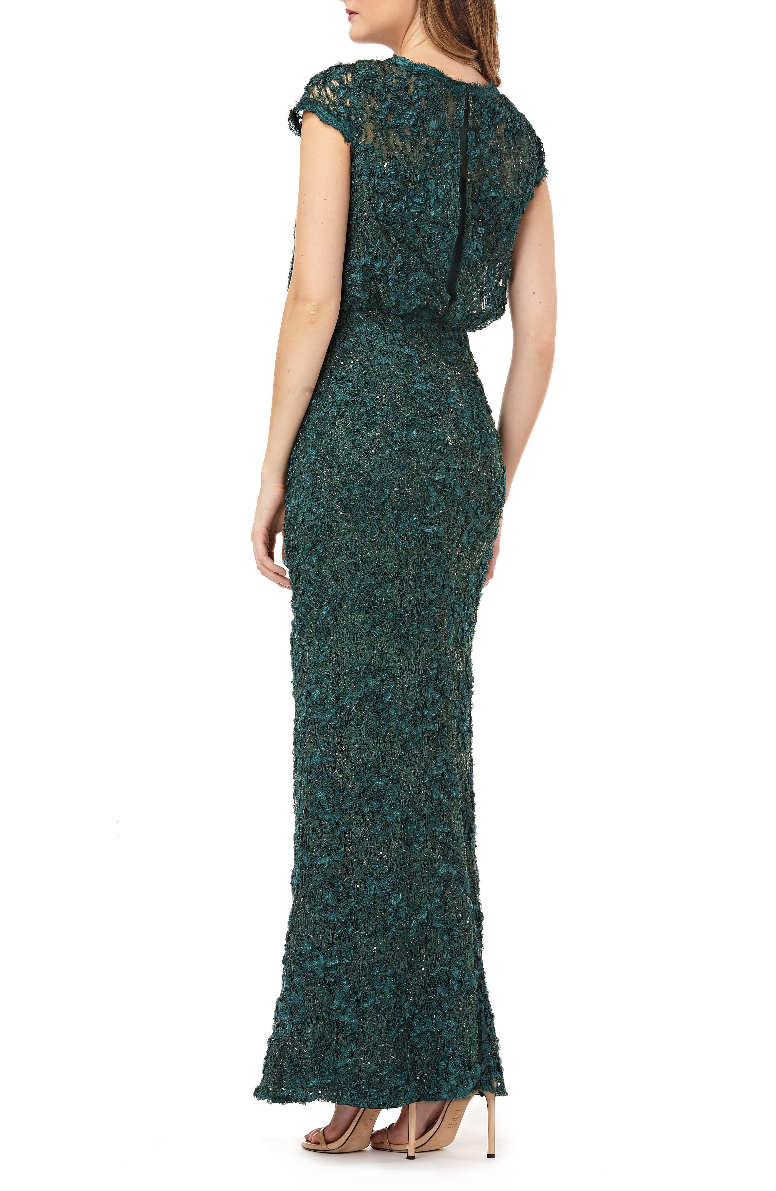 JS COLLECTIONS,                             Sequin Lace Blouson Gown,                             Alternate thumbnail 2, color,                             GREEN