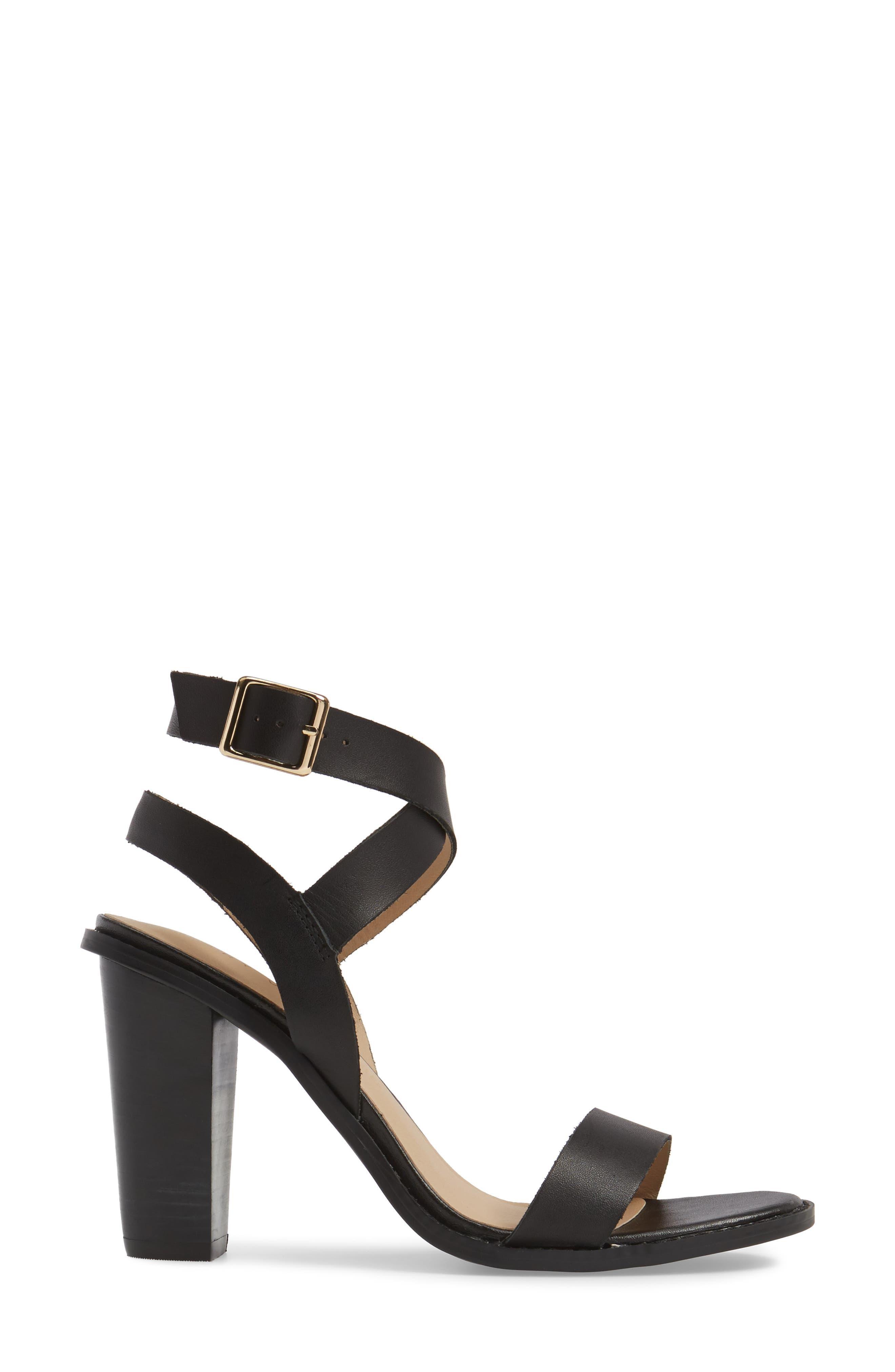 Poshy Ankle Wrap Sandal,                             Alternate thumbnail 3, color,                             BLACK LEATHER