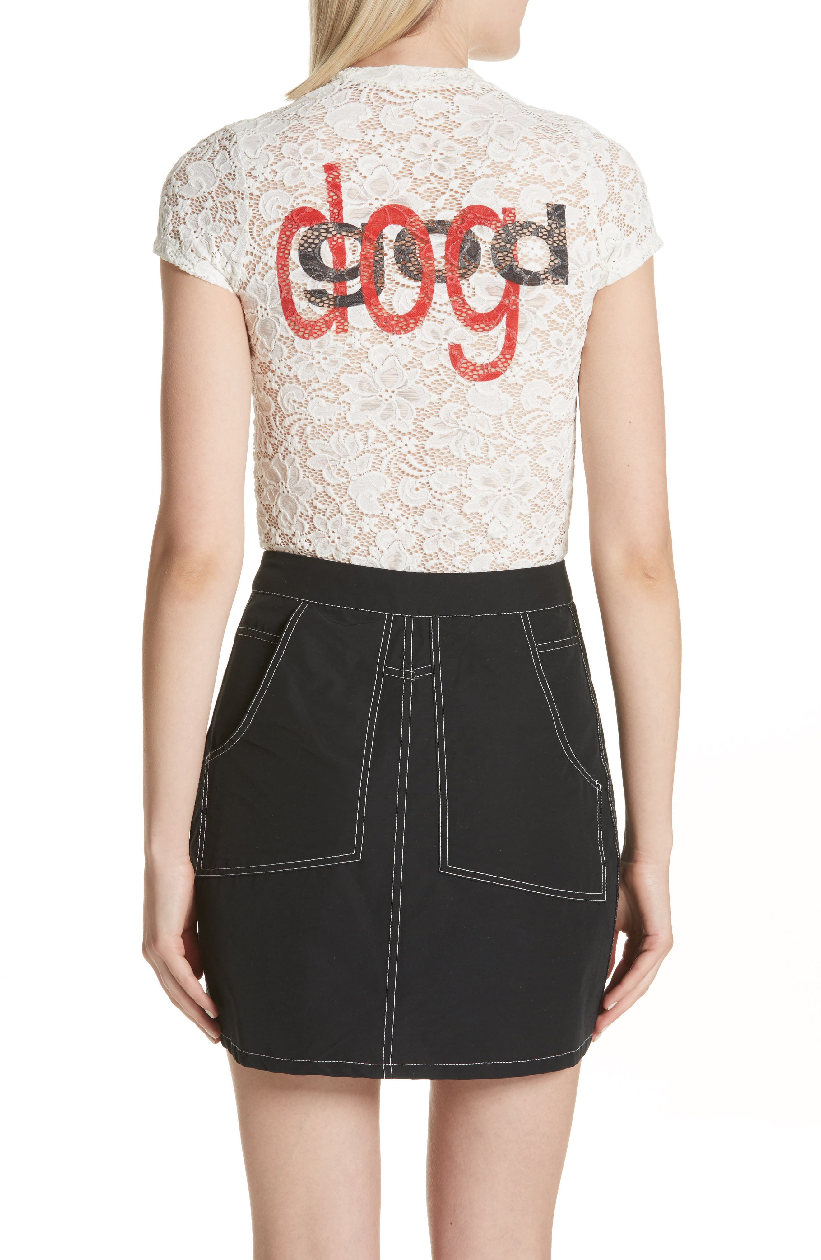 Dog God Stretch Lace Tee,                             Alternate thumbnail 2, color,                             100