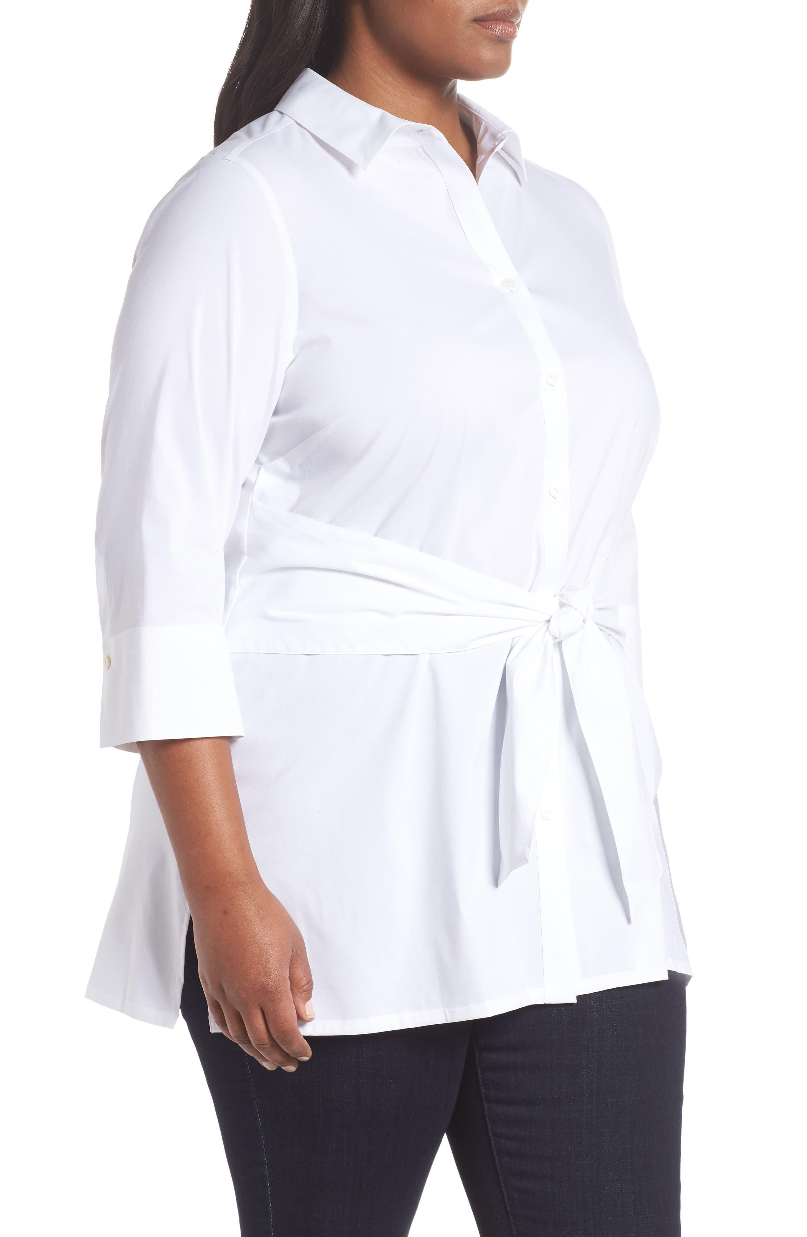 Michaela Solid Tie Front Shirt,                             Alternate thumbnail 3, color,                             WHITE