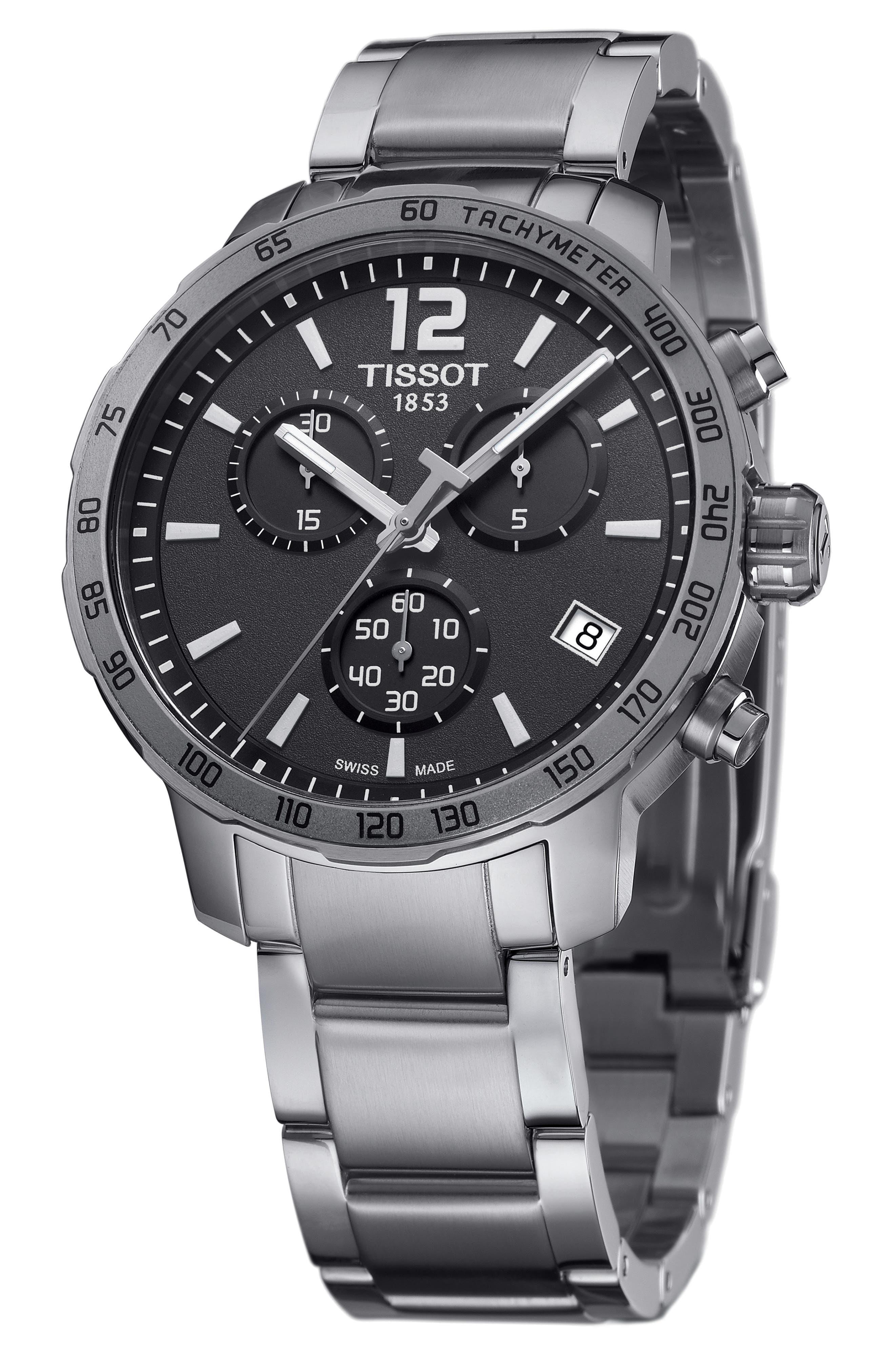 Quickster Chronograph Bracelet Watch, 42mm,                             Alternate thumbnail 2, color,                             SILVER/ GREY