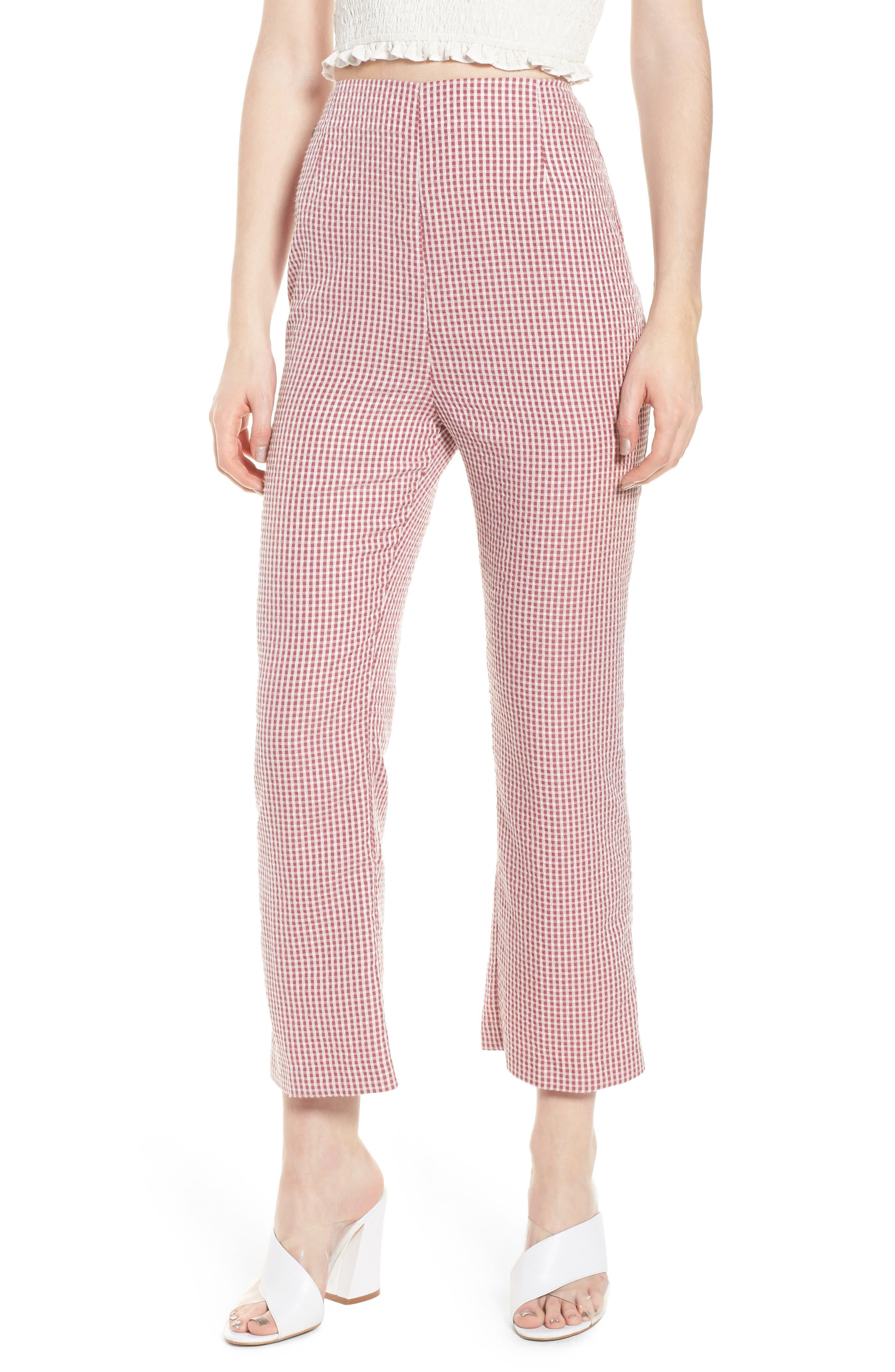 Pisa High Waist Crop Pants,                         Main,                         color, RED GINGHAM