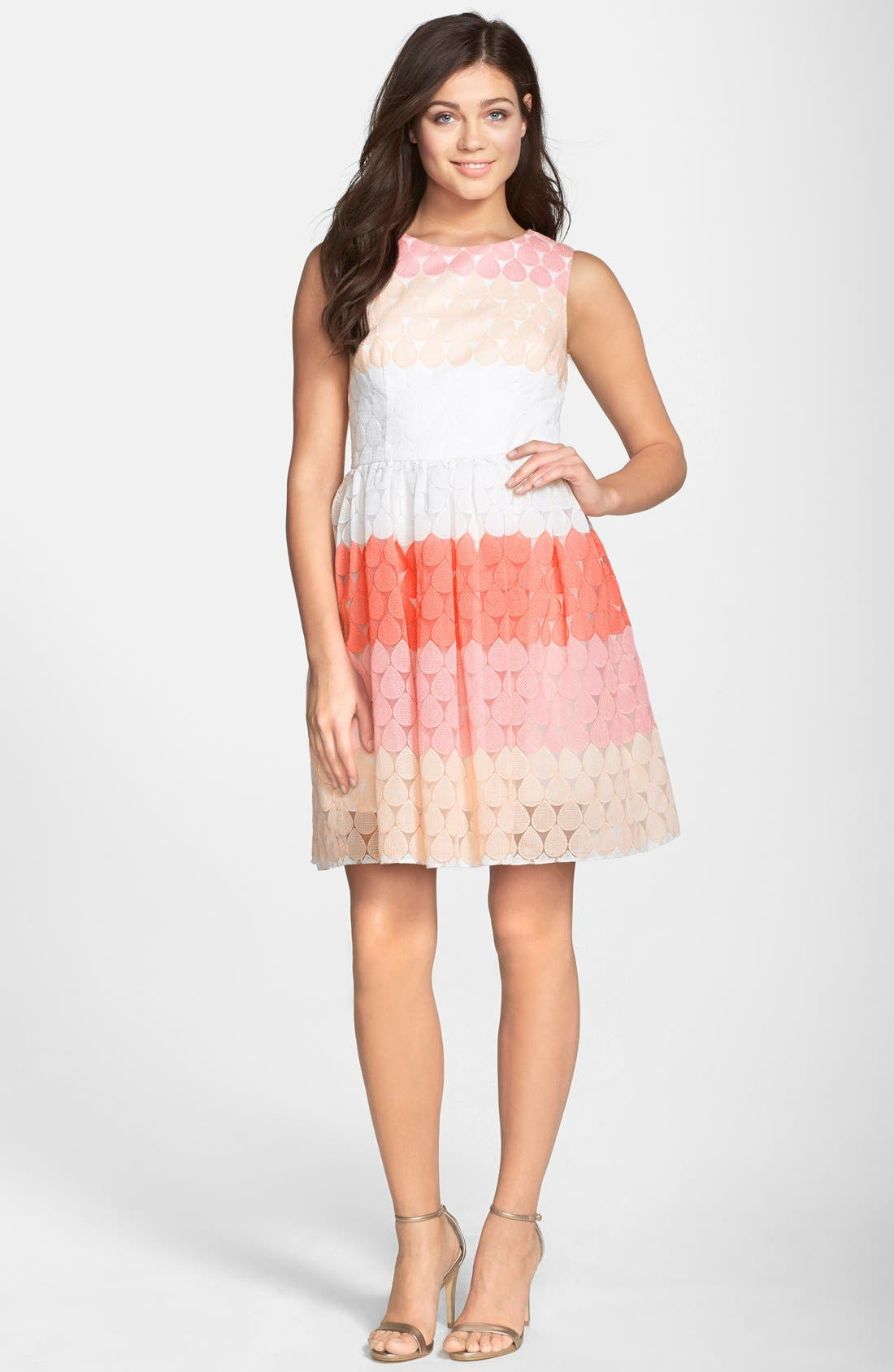 Stripe Embroidered Fit & Flare Dress,                             Alternate thumbnail 3, color,                             624
