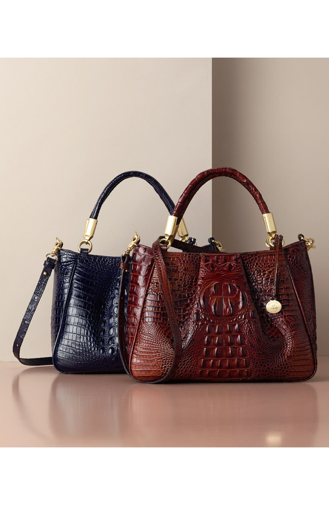 Ruby Croc Embossed Leather Satchel,                             Alternate thumbnail 5, color,                             001