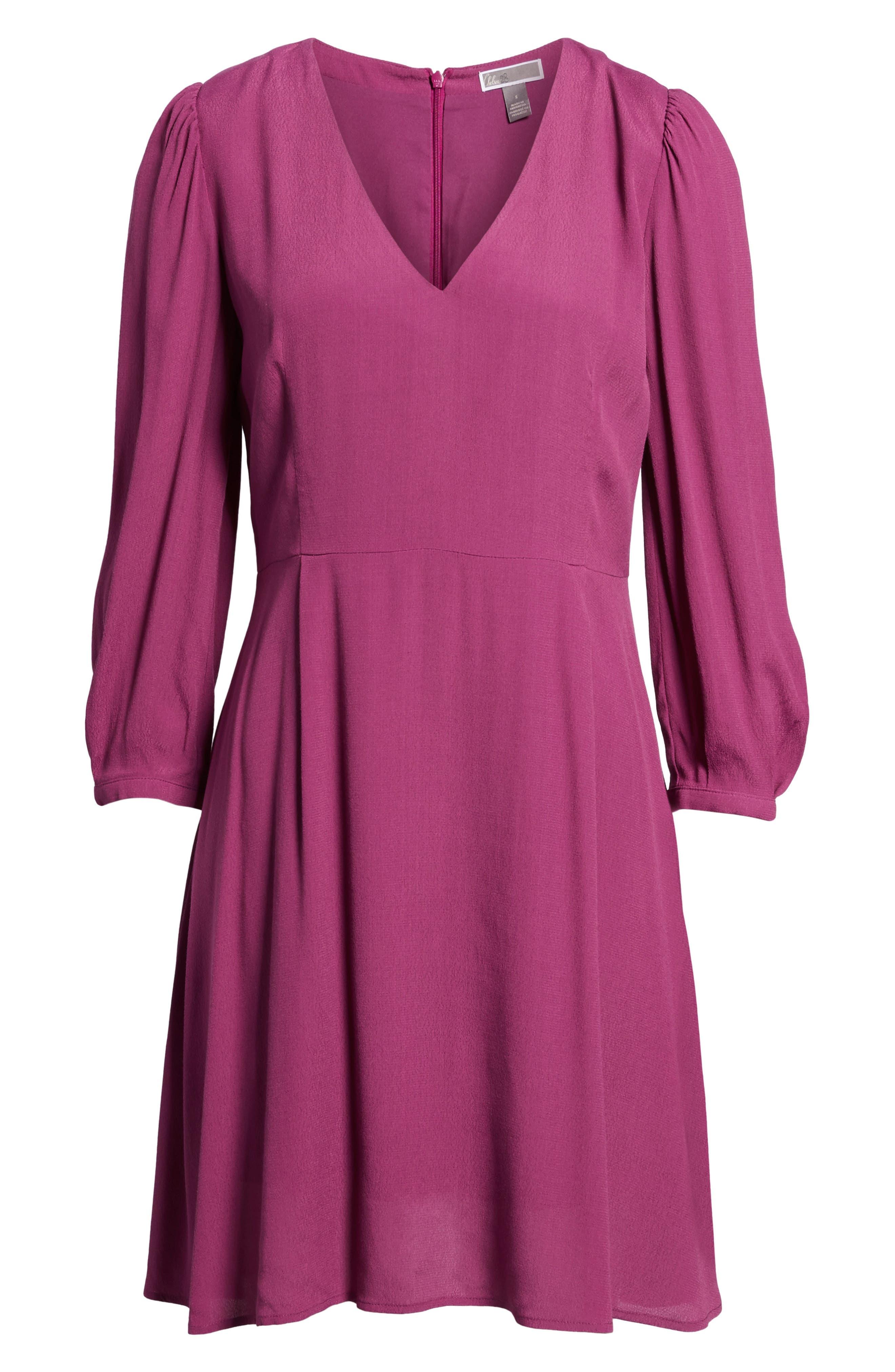 V-Neck Puff Sleeve Dress,                             Alternate thumbnail 7, color,                             510