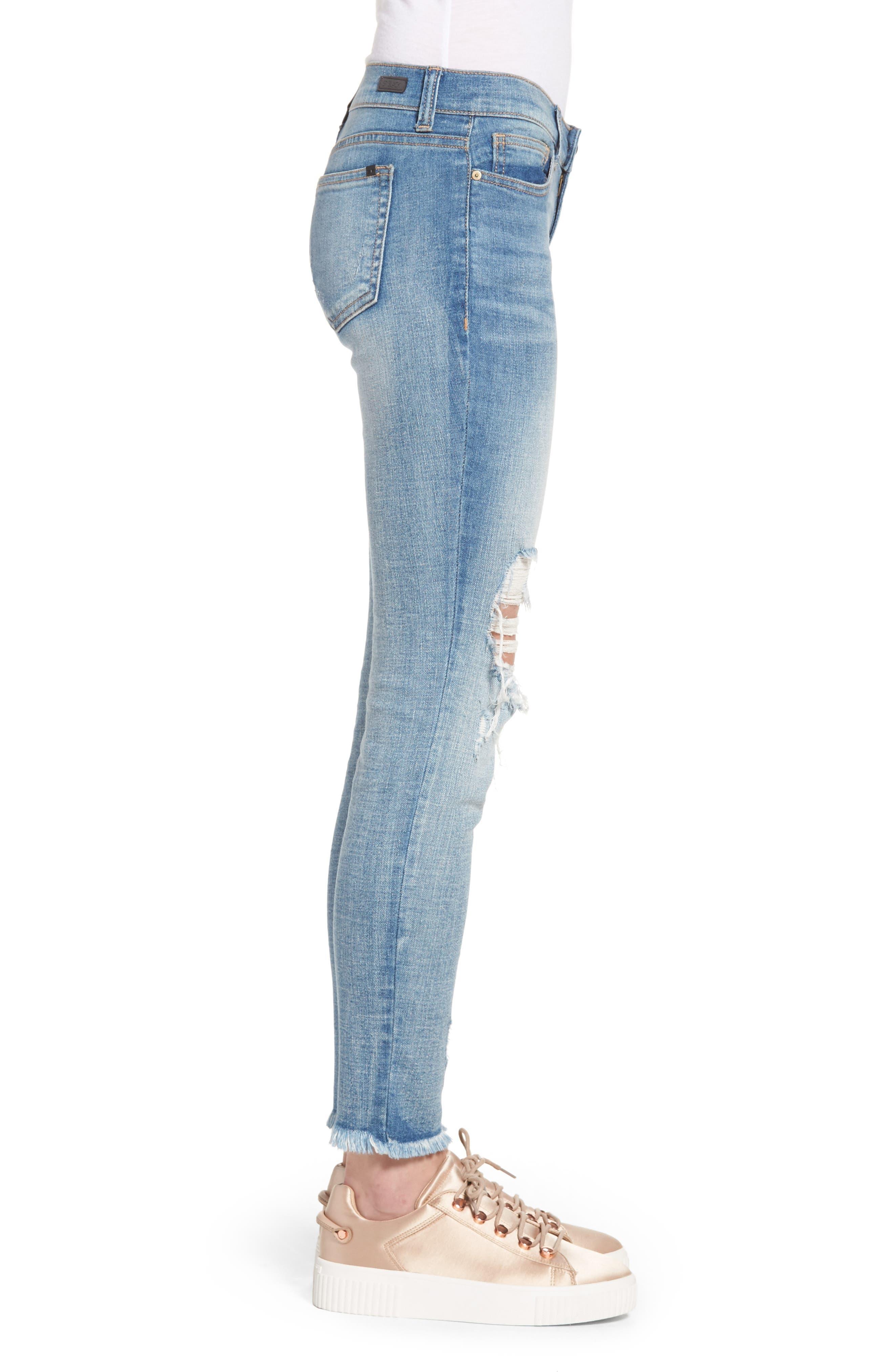 Ripped Knee Skinny Jeans,                             Alternate thumbnail 3, color,                             MEDIUM LIGHT