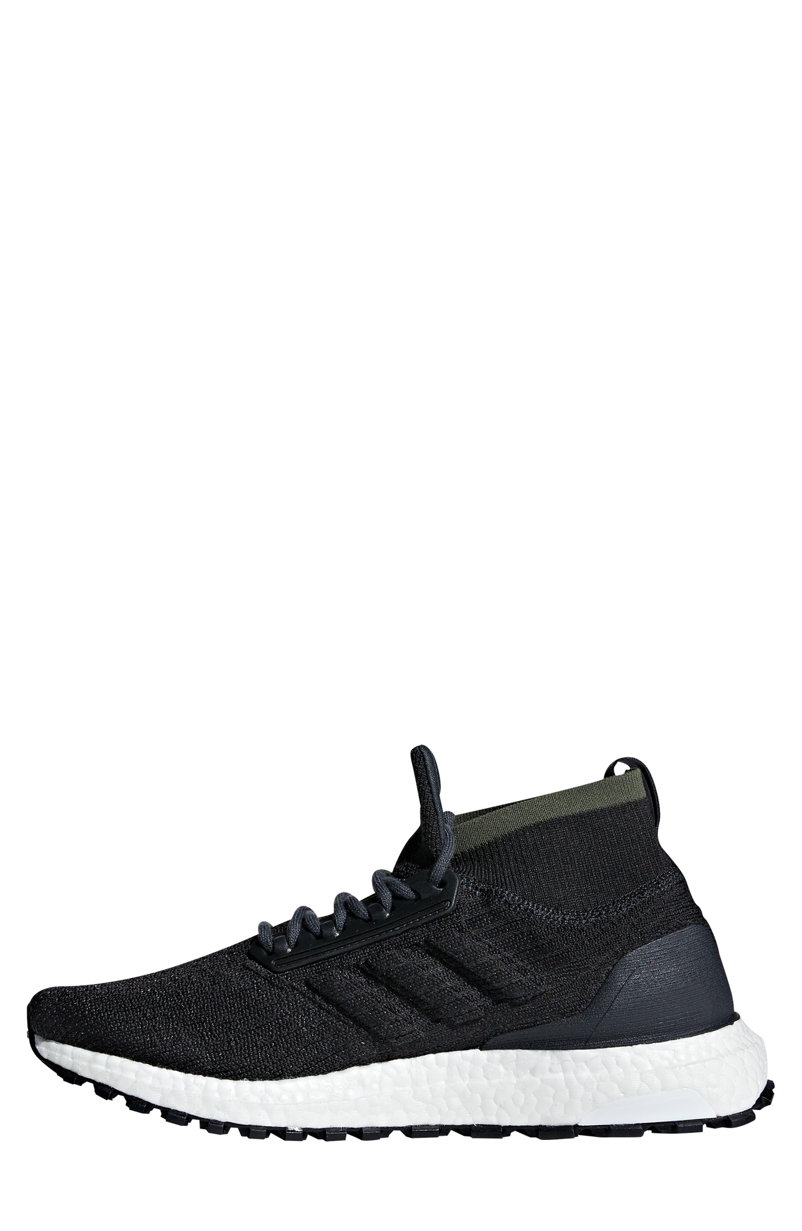 UltraBoost All Terrain Water Resistant Running Shoe,                             Alternate thumbnail 8, color,                             CARBON / CORE BLACK / WHITE