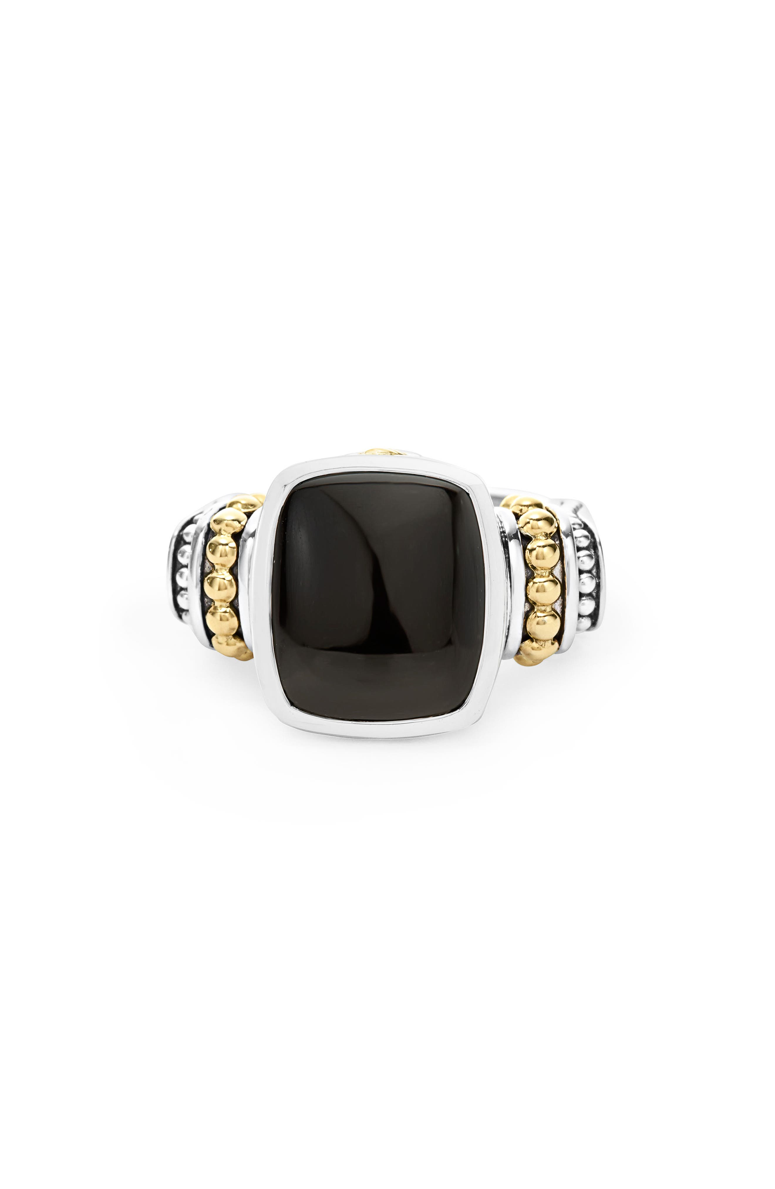 'Caviar Color' Medium Semiprecious Stone Ring,                             Alternate thumbnail 4, color,                             BLACK ONYX