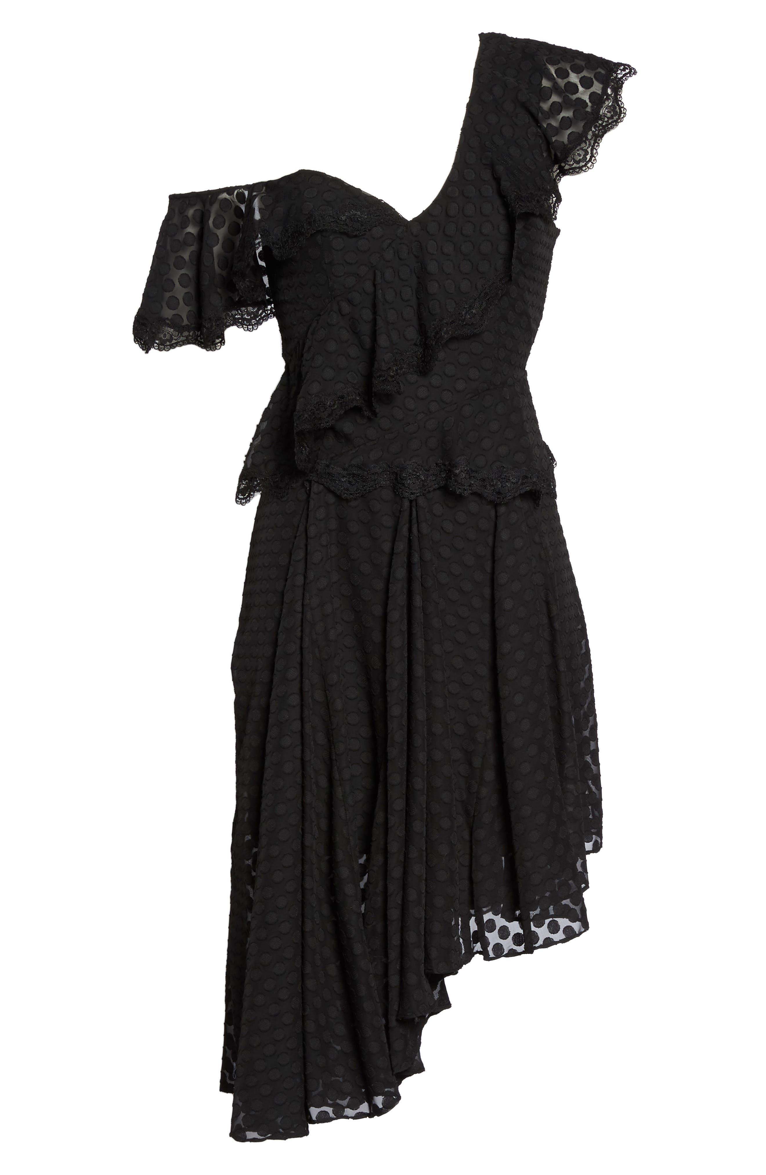 Señorita One-Shoulder Dot Chiffon Dress,                             Alternate thumbnail 6, color,                             001
