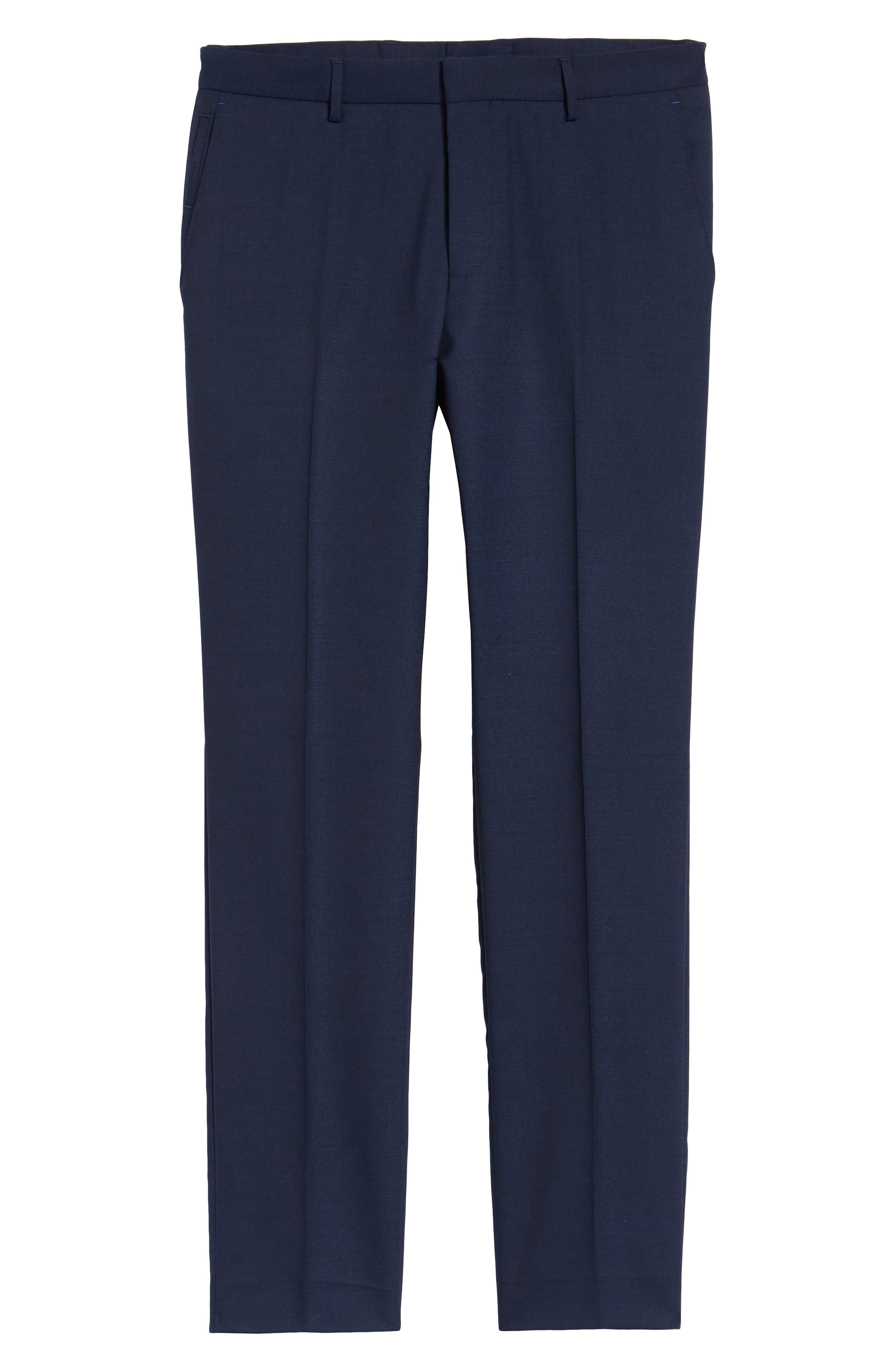 Nordstrom x BOSS Ben Flat Front Solid Wool Trousers,                             Alternate thumbnail 6, color,                             410