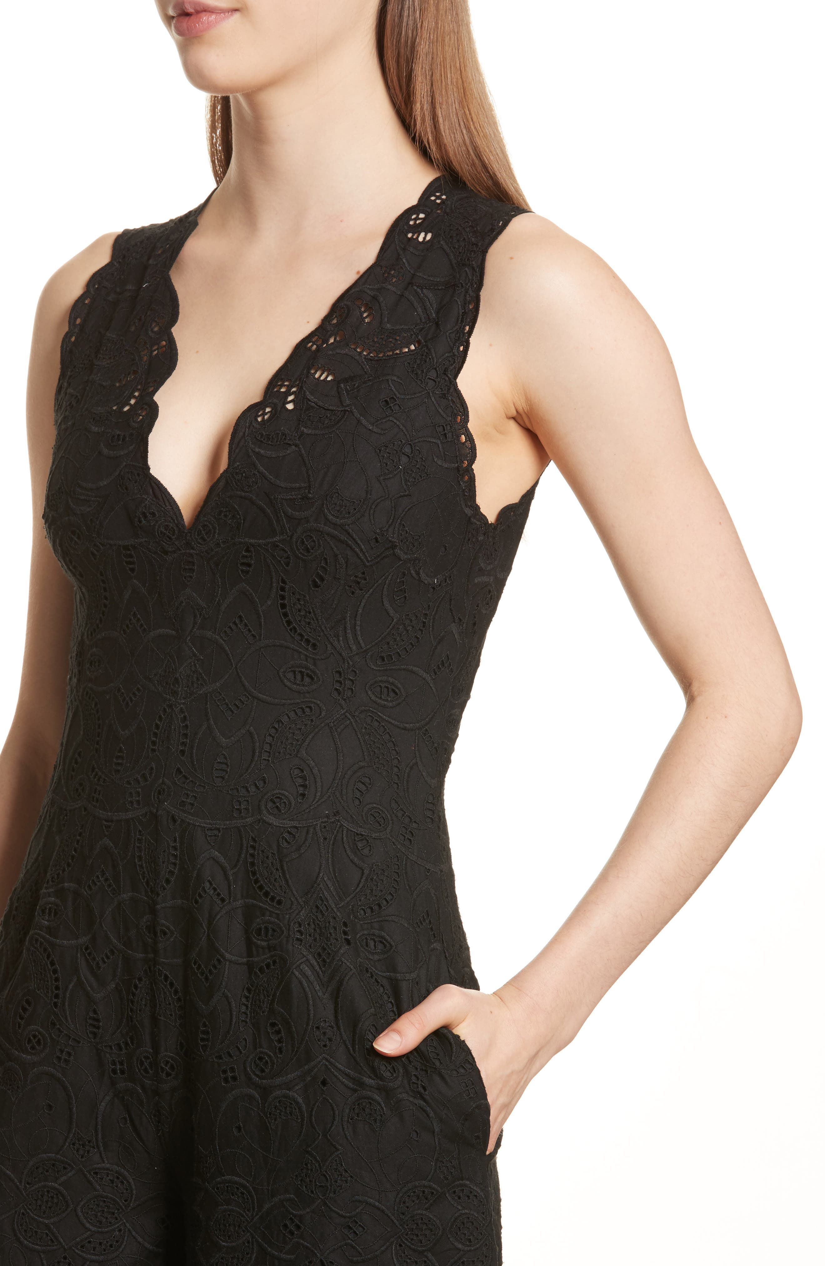 Scallop Edge Embroidered Jumpsuit,                             Alternate thumbnail 4, color,                             001