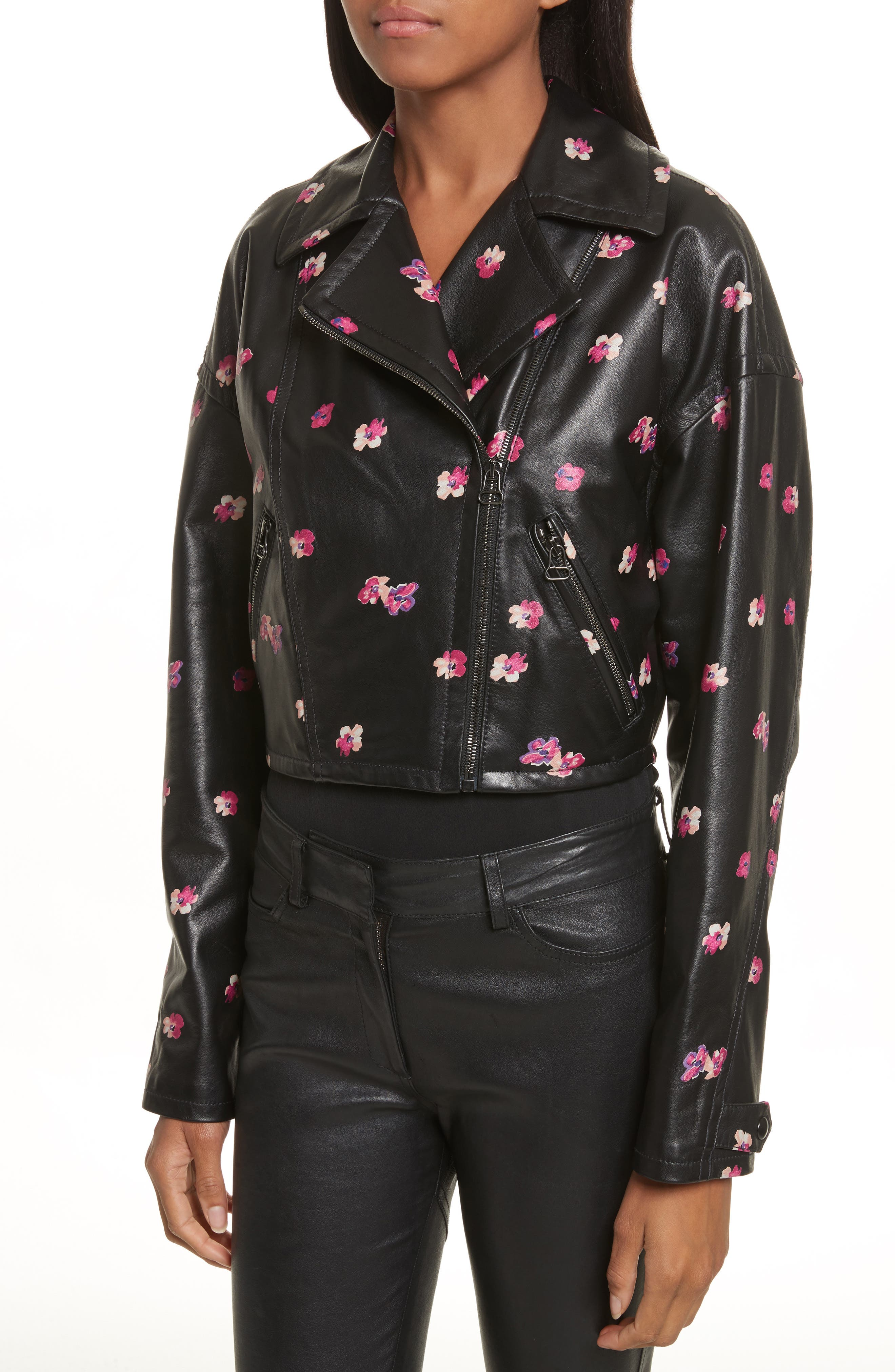 Floriana Leather Jacket,                             Alternate thumbnail 4, color,                             BLACK COMBO