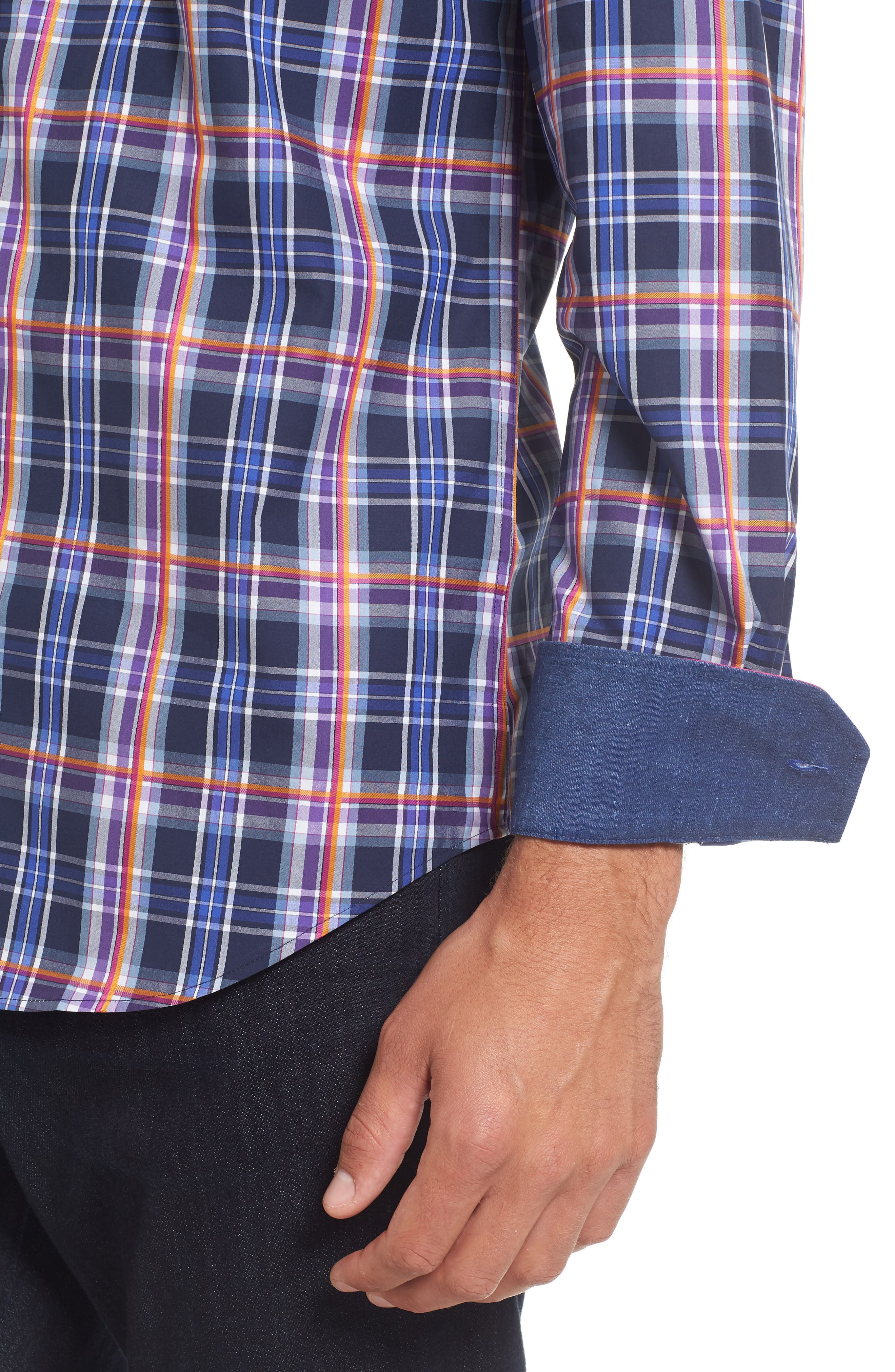 Slim Fit Madras Plaid Sport Shirt,                             Alternate thumbnail 4, color,                             411