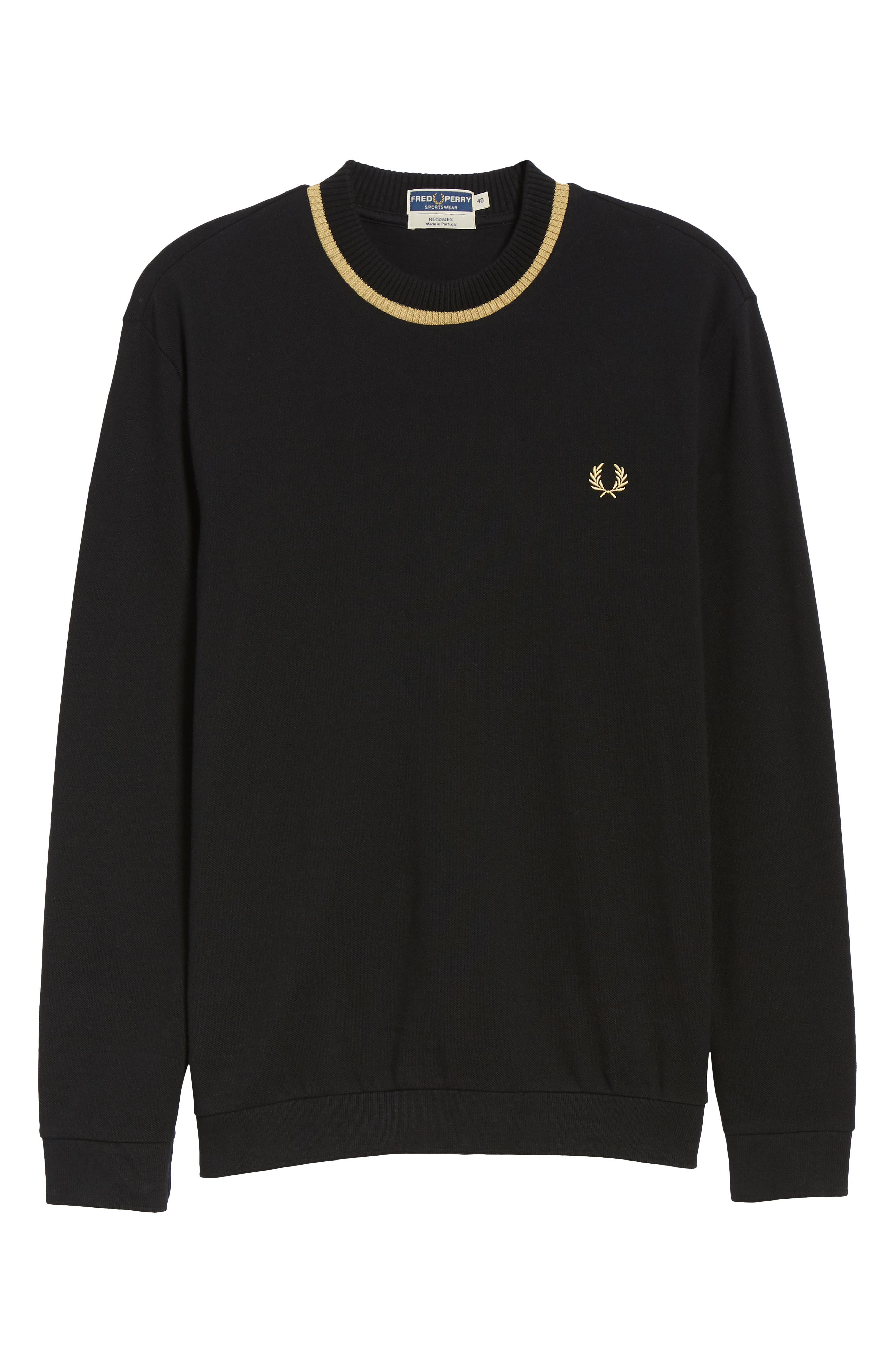 Long Sleeve Piqué T-Shirt,                             Alternate thumbnail 6, color,                             BLACK / CHAMPAGNE