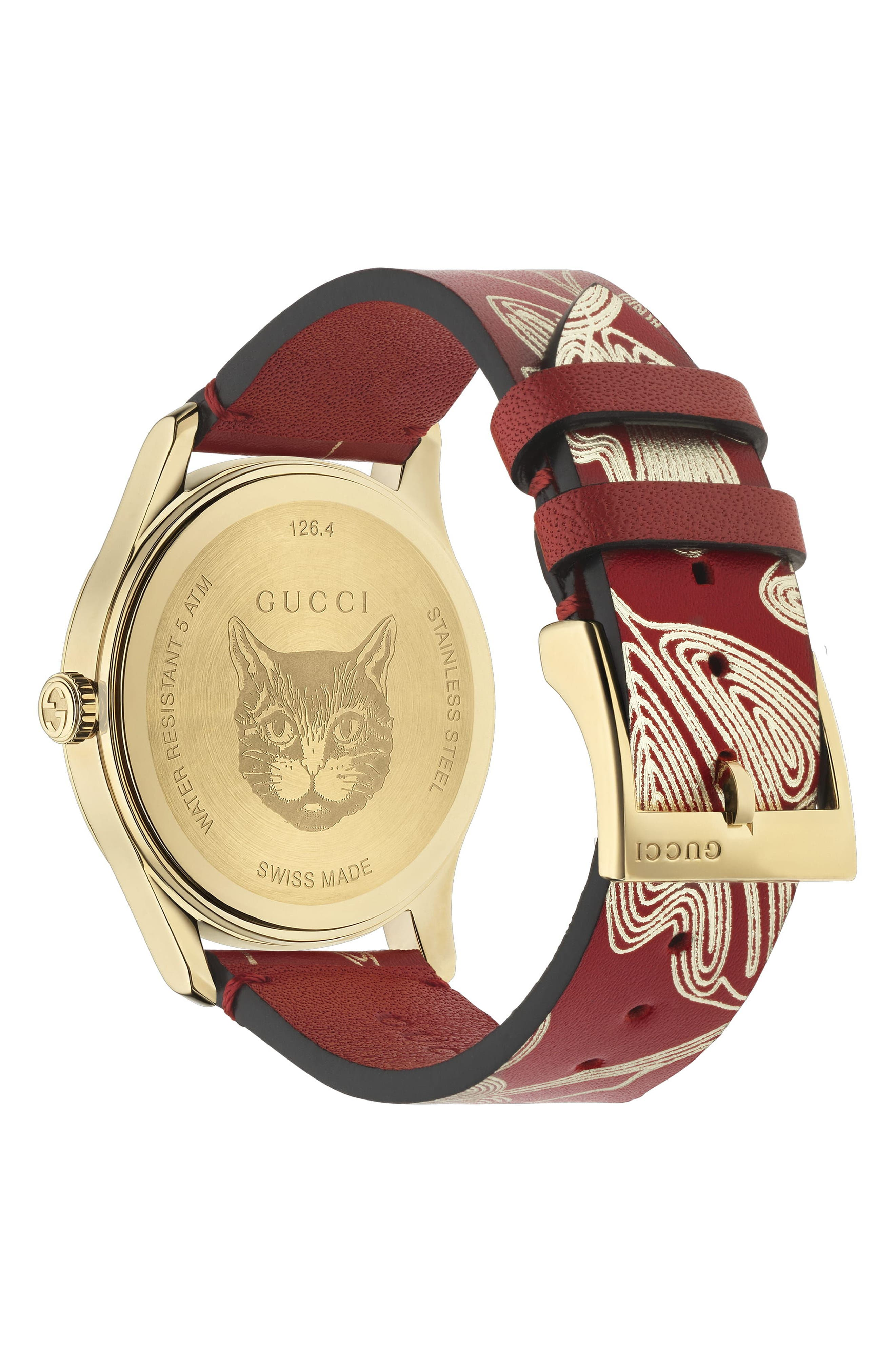 G-Timeless Leather Strap Watch, 36mm,                             Alternate thumbnail 2, color,                             RED/ GOLD