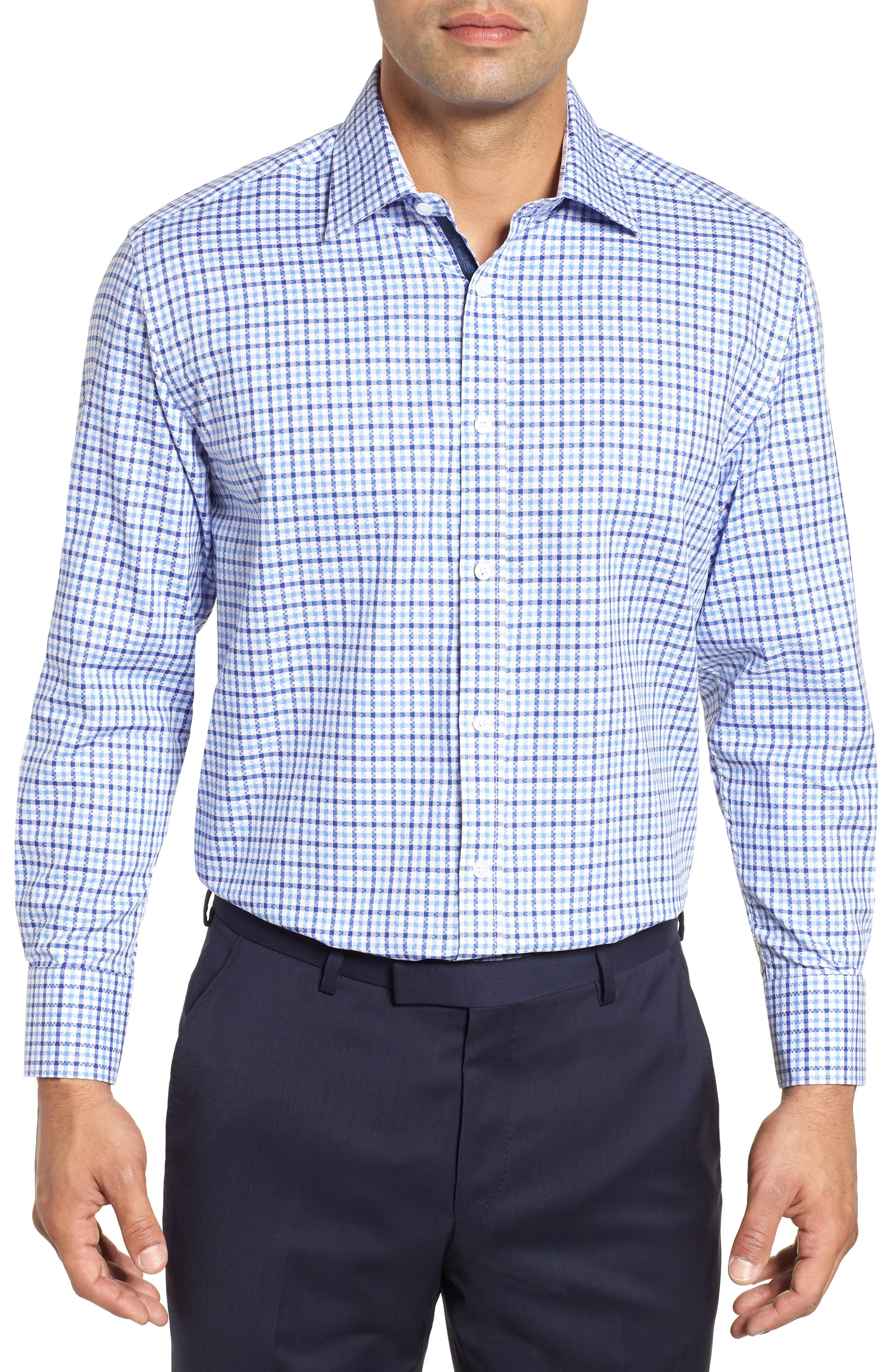 Regular Fit Check Dress Shirt,                             Main thumbnail 1, color,                             BLUE