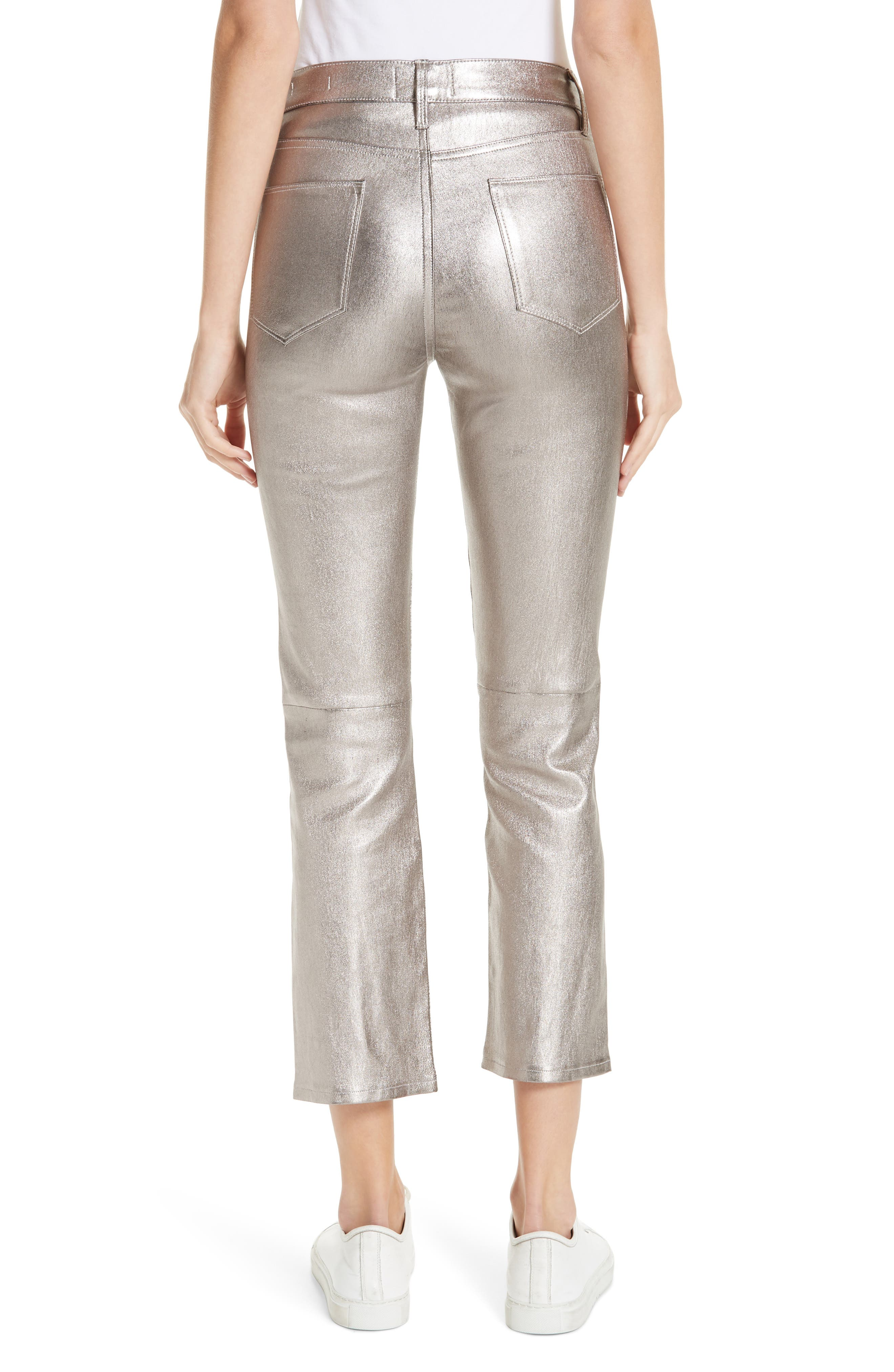 Straight Leg Metallic Leather Pants,                             Alternate thumbnail 2, color,                             LIGHT STEEL