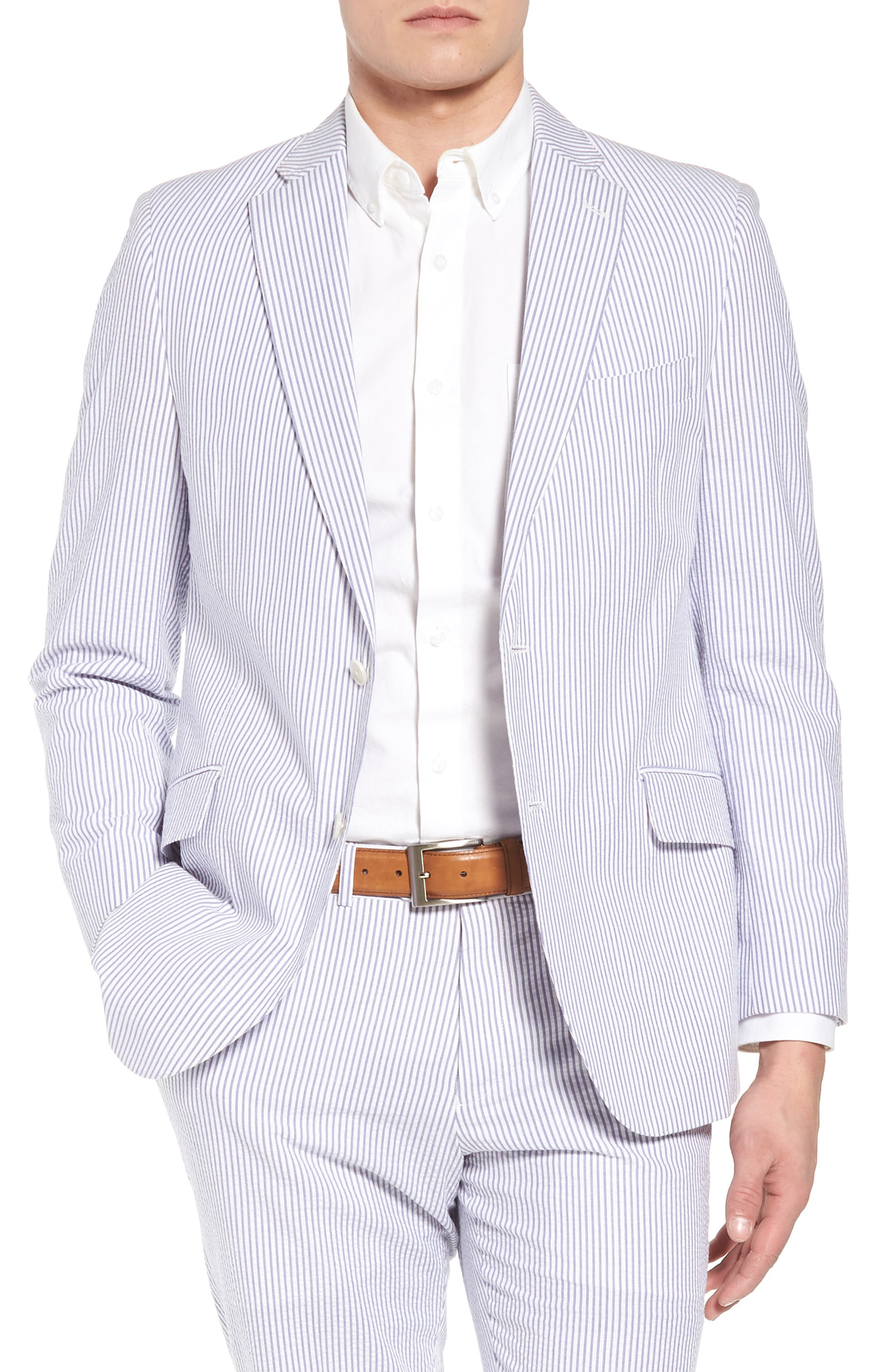 Jack AIM Classic Fit Seersucker Sport Coat,                         Main,                         color, BLUE AND WHITE