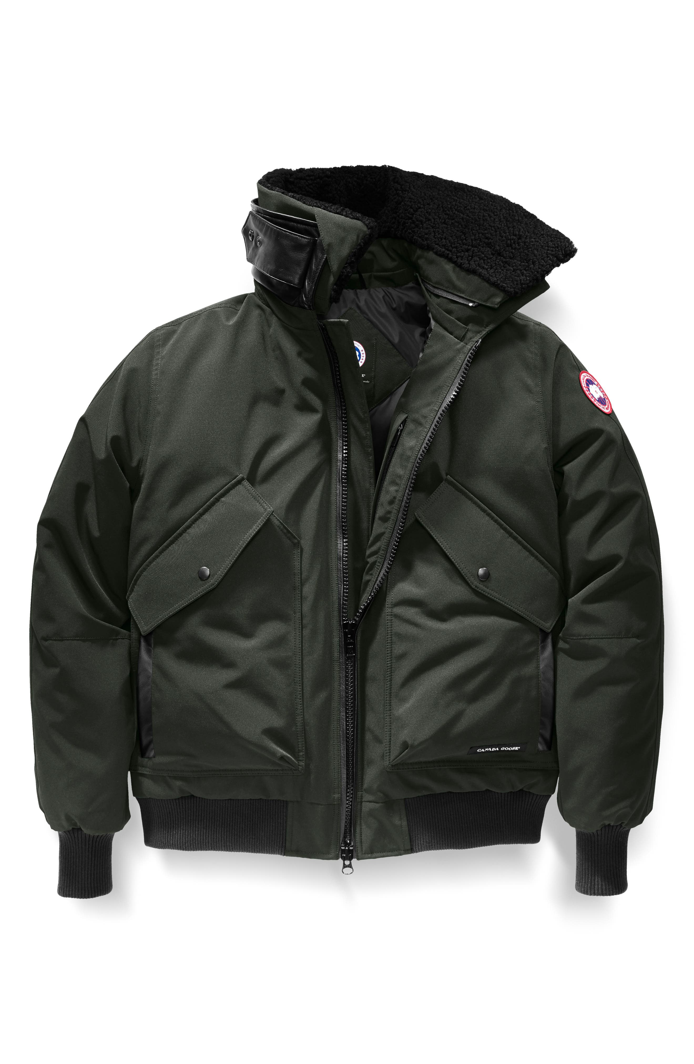 CANADA GOOSE,                             Bromley Slim Fit Down Bomber Jacket with Genuine Shearling Collar,                             Alternate thumbnail 4, color,                             VOLCANO