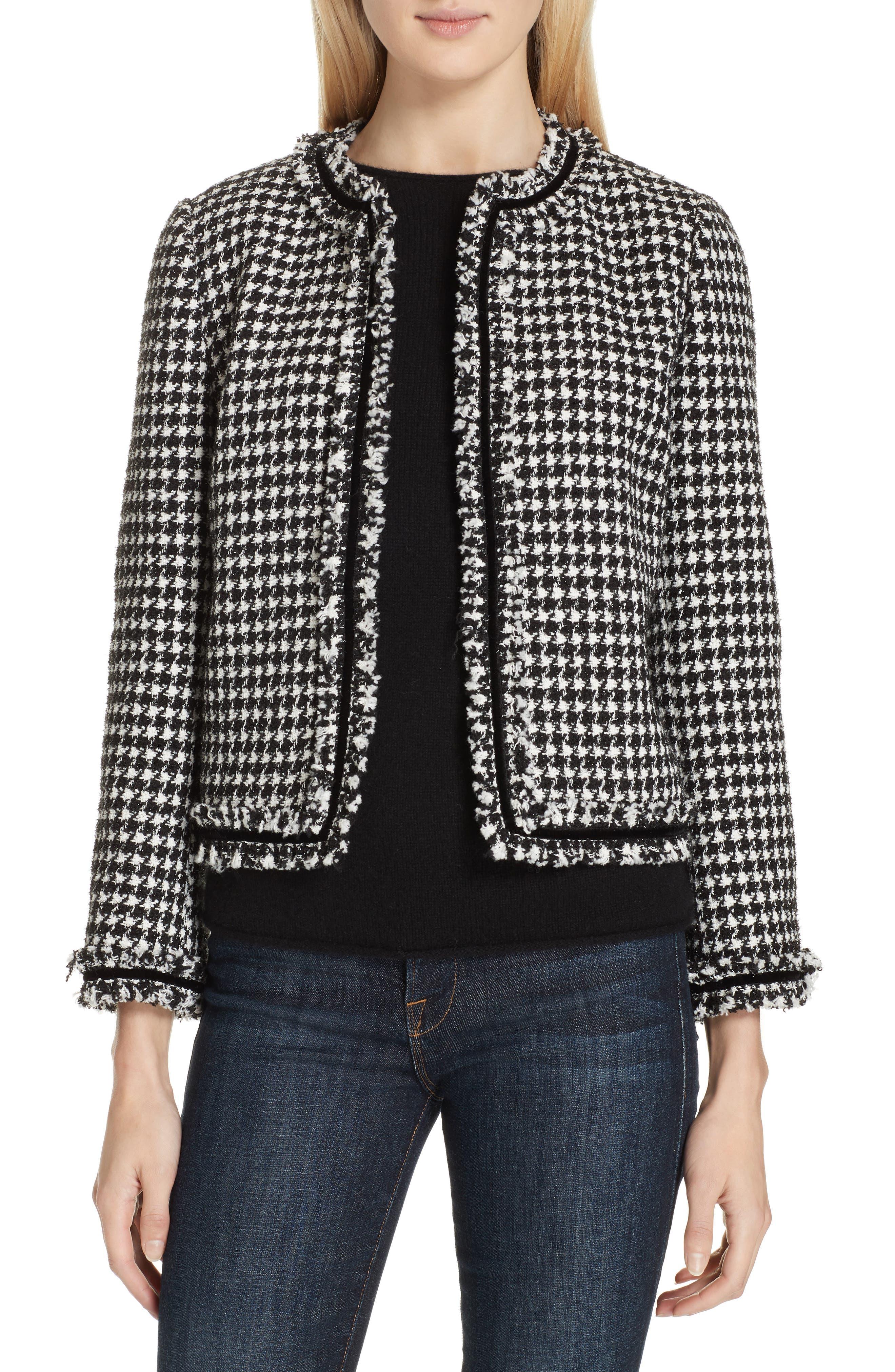 houndstooth tweed jacket, Main, color, BLACK/ CREAM
