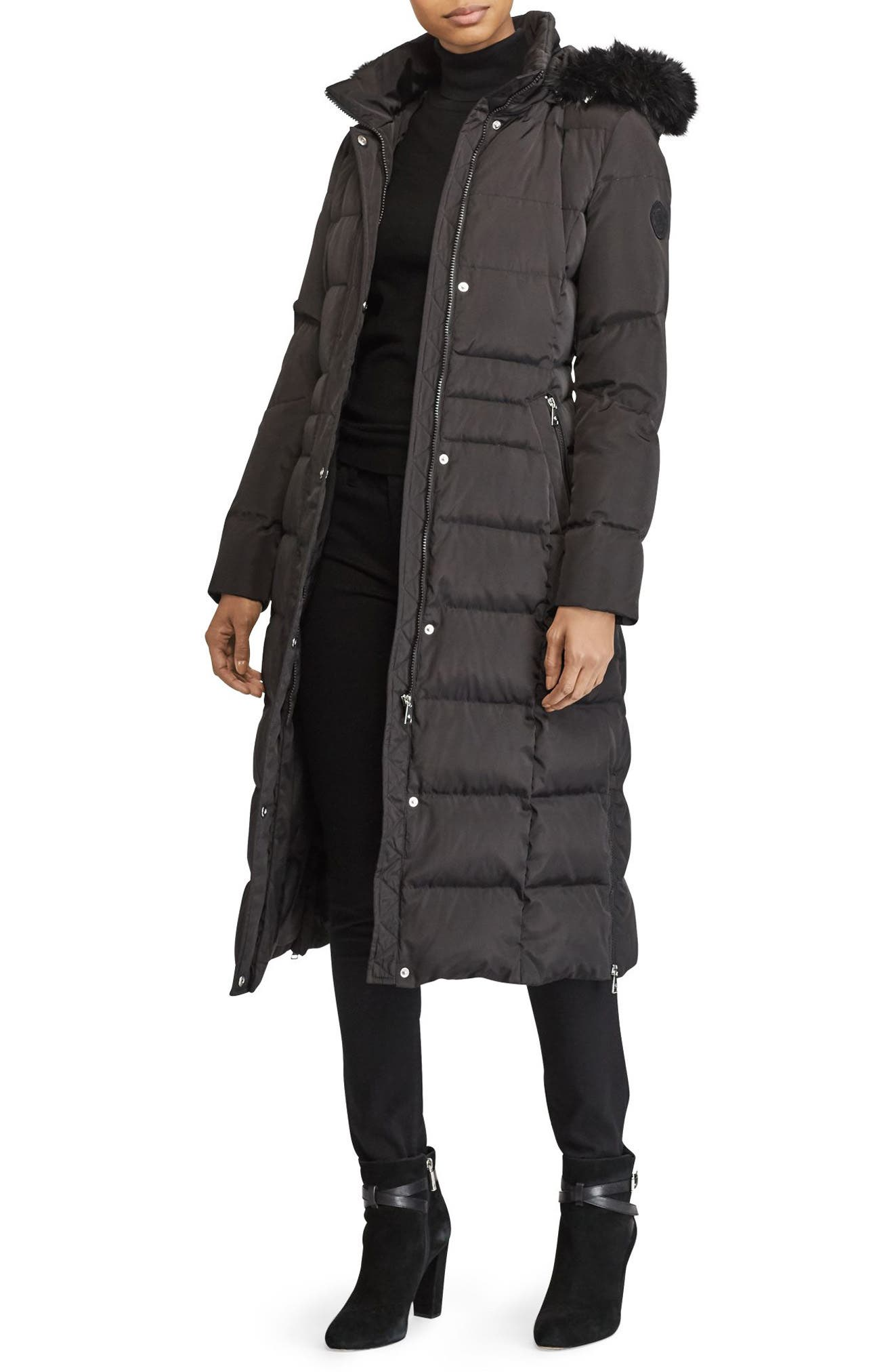 Long Down Coat with Faux Fur Trim,                         Main,                         color, BLACK